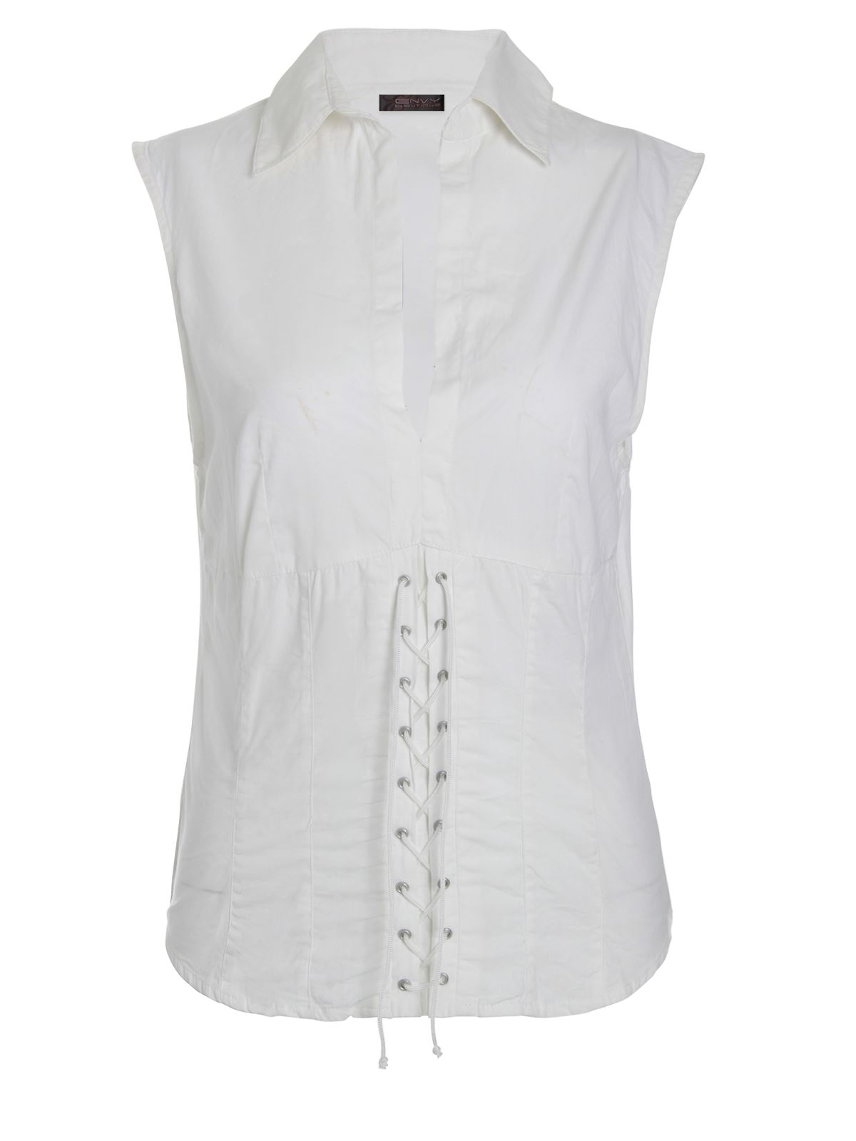0b755eaa7917c White Sleeveless Blouse Tie
