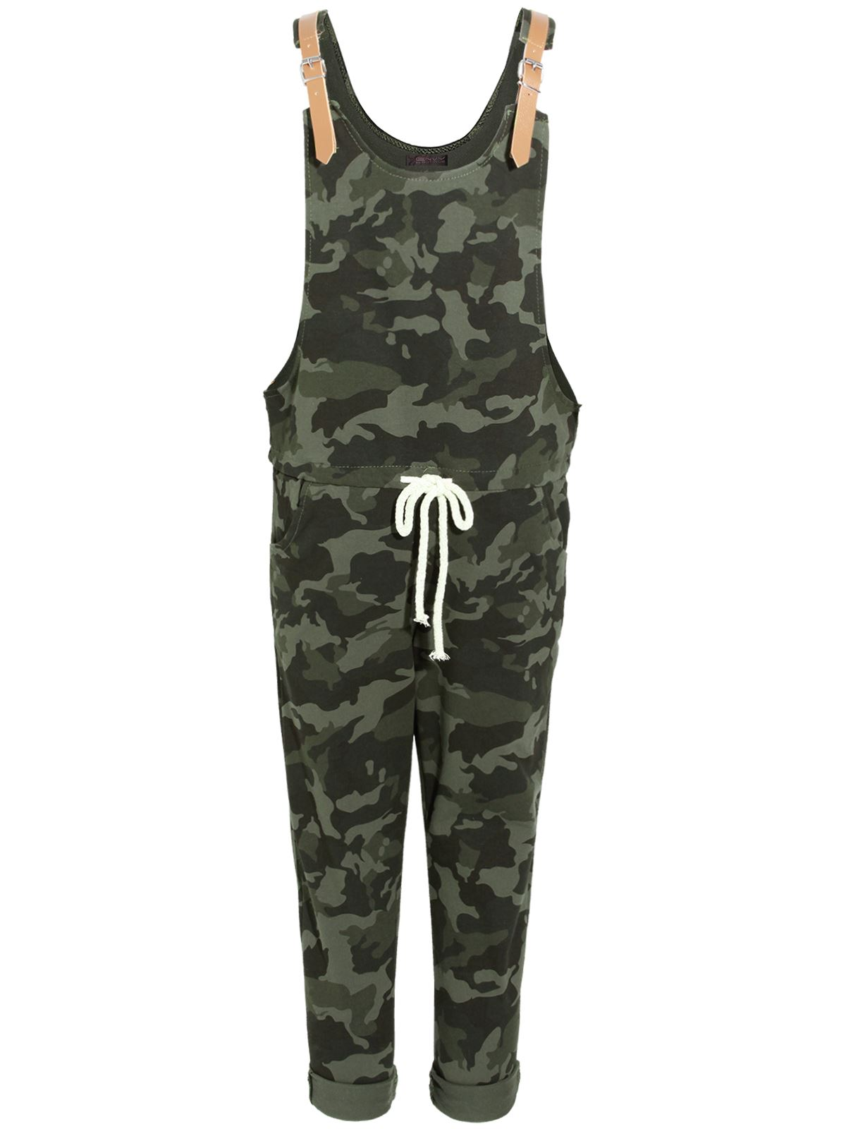 ladies womens dungaree camo camouflage jumpsuit 3 4 pants loungewear ebay. Black Bedroom Furniture Sets. Home Design Ideas