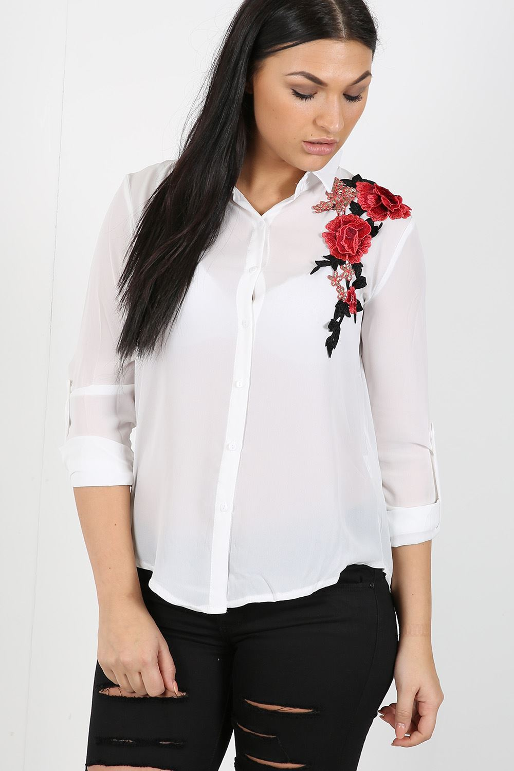 womens ladies rose floral embroidered chiffon collared shirt blouse