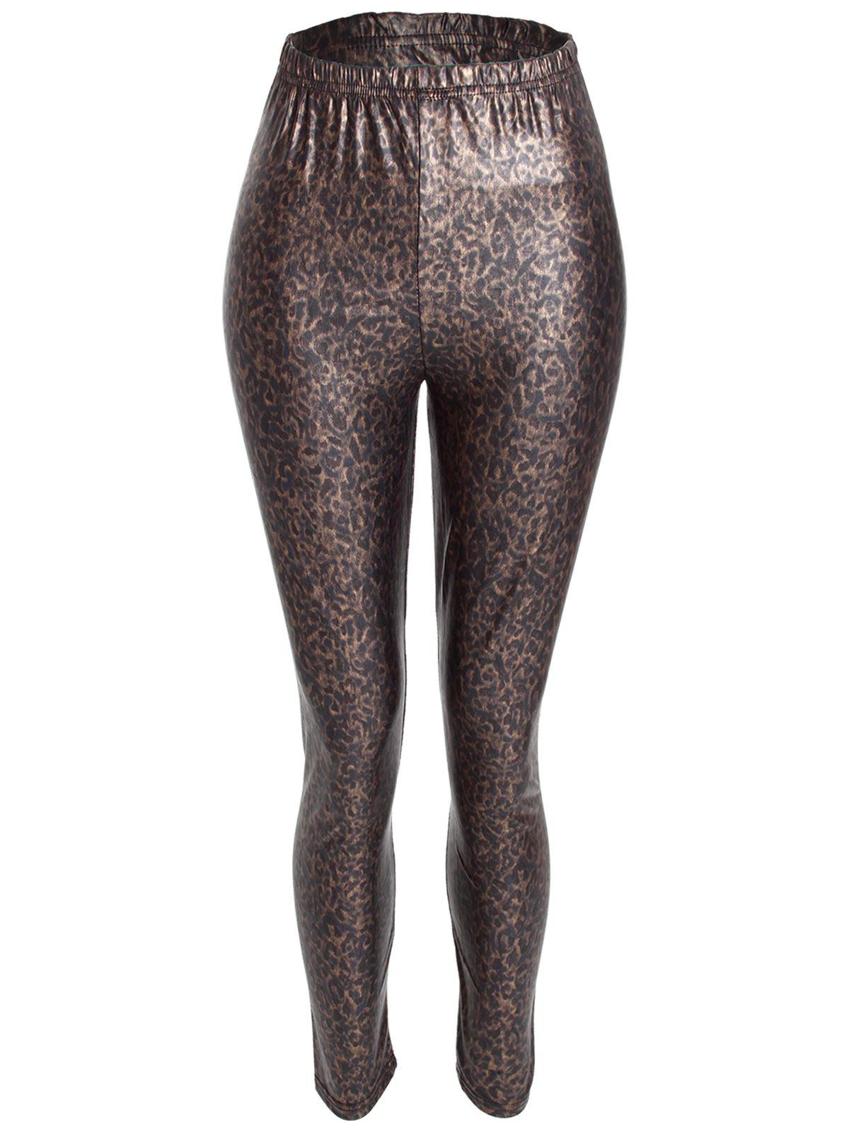 ladies womens leopard animal print stretchy leggings pants