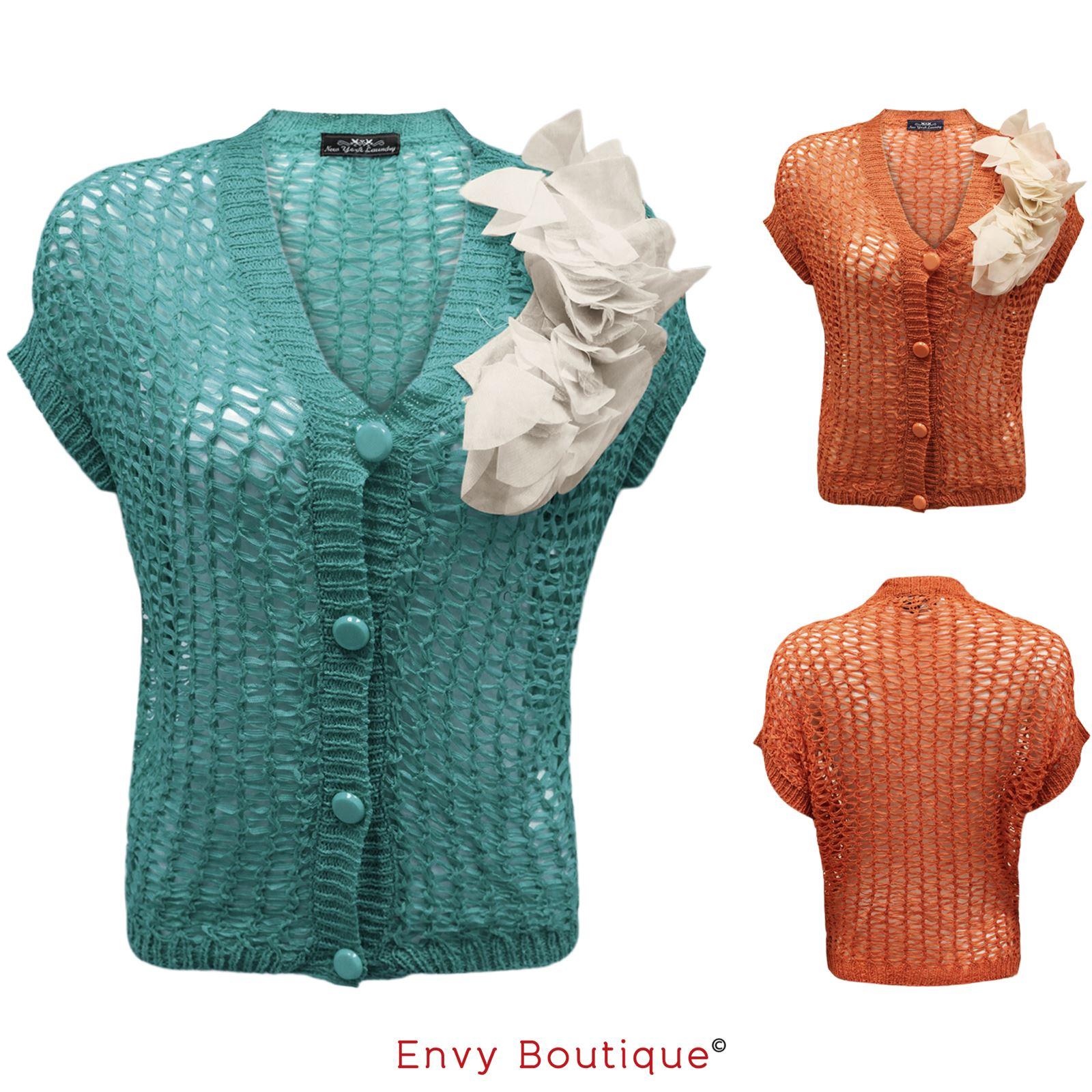 new womens ladies knitted mesh button short sleeve crochet shrug