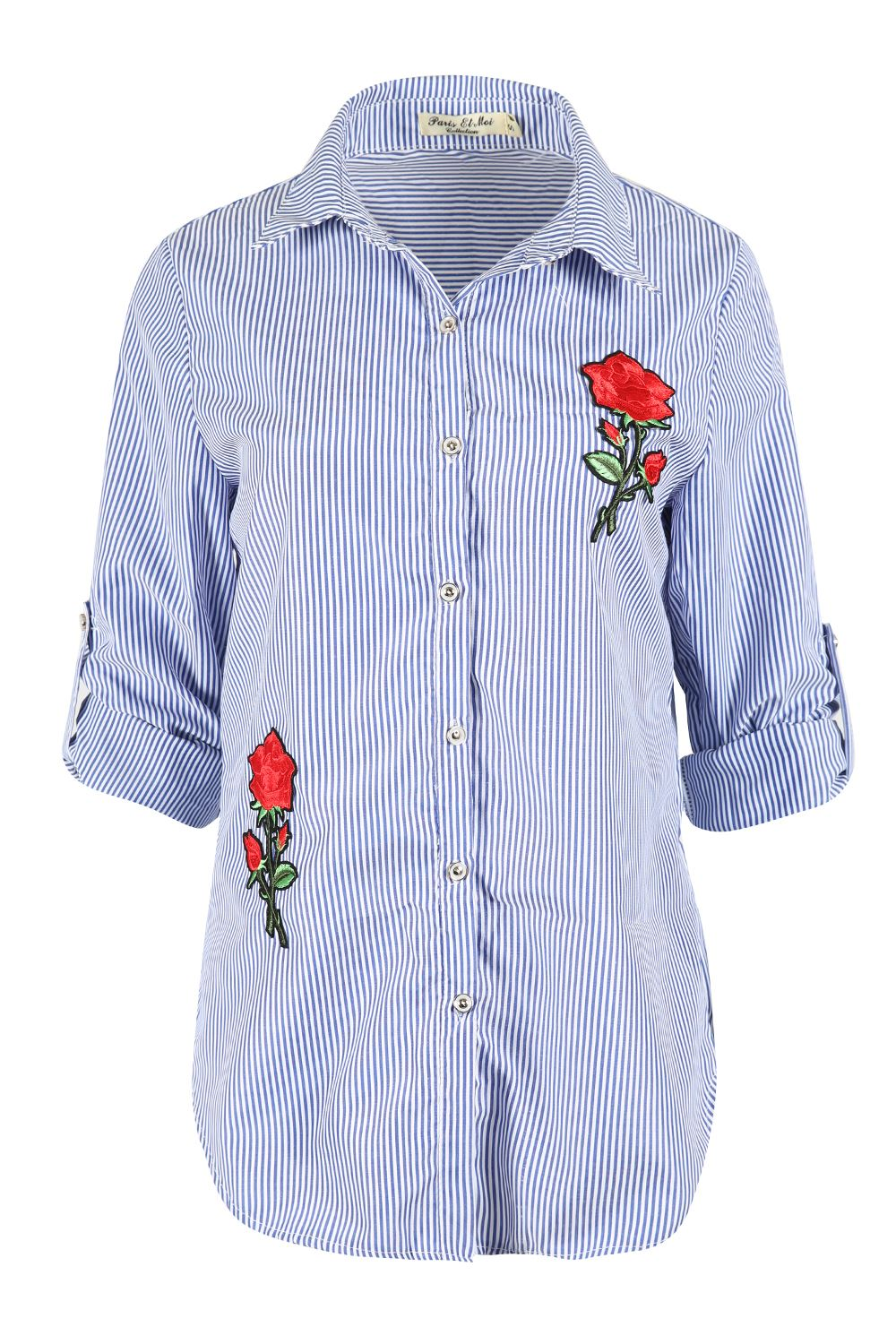 Ladies womens embroidered floral rose striped shirt