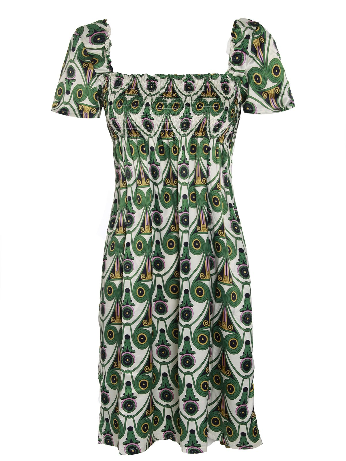 ladies womens cap sleeve printed satin tea dress shirred sheering