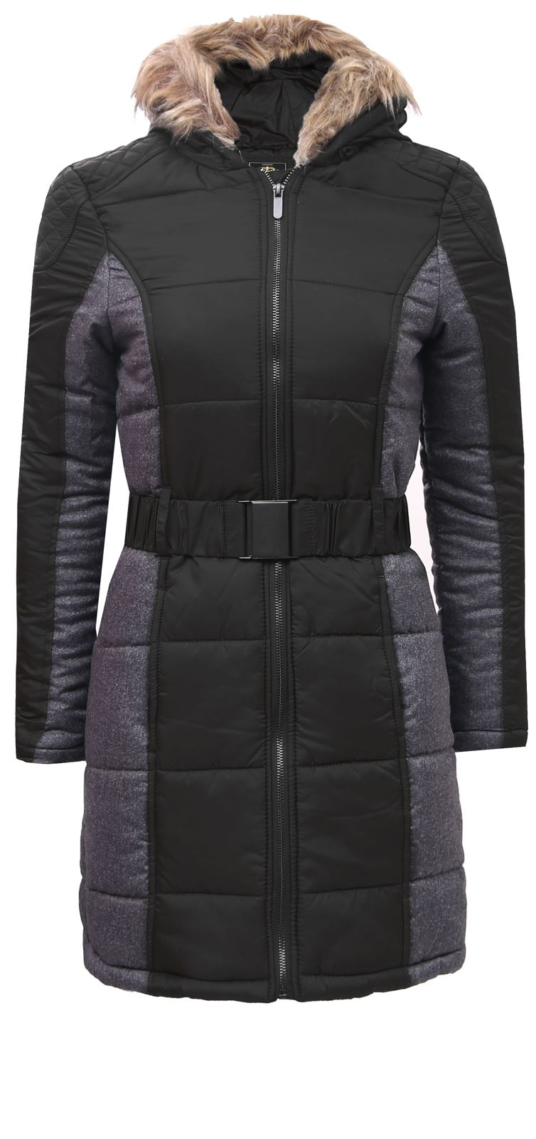 Brave Soul Ladies QUILTED Padded Fur Hooded BELTED PARKA JACKET Womens COAT