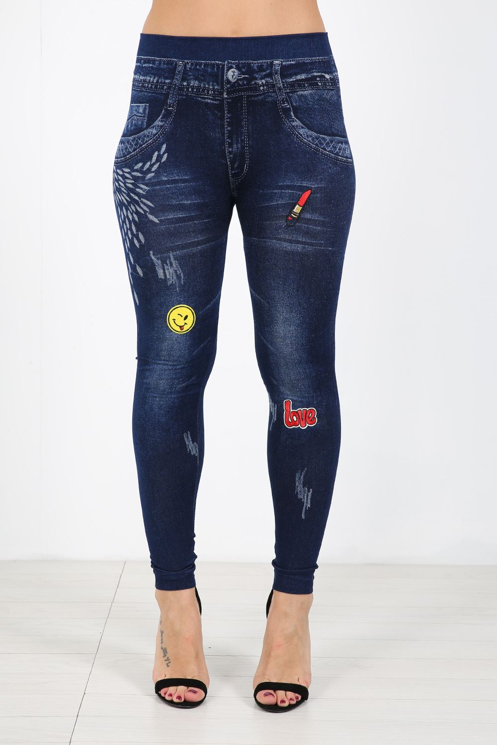 Wonderful Womens Ladies Embroidered Denim High Waisted Skinny Fit Stretch Jeans   EBay