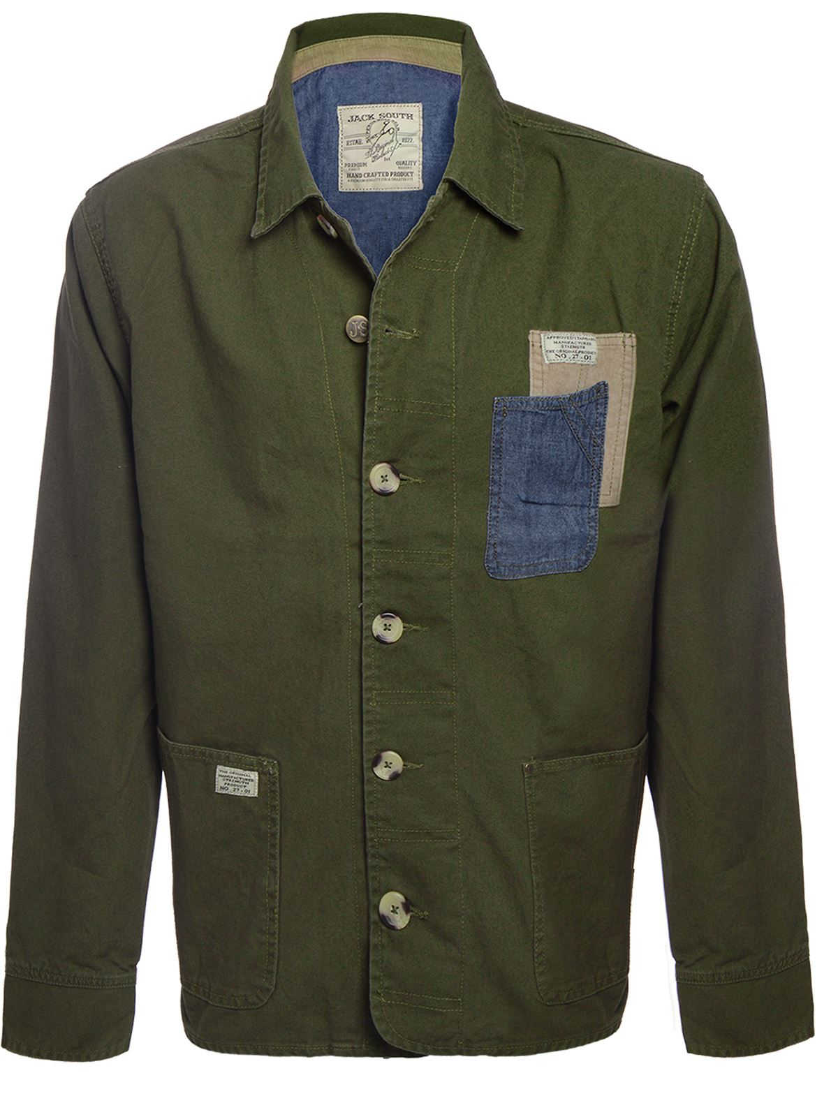 jack south mens military khaki utility jacket collared button up