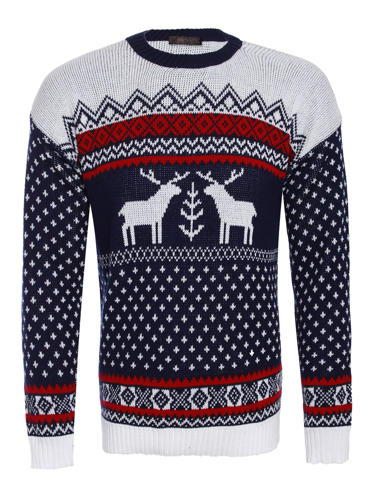 Knitting Patterns For Novelty Christmas Jumpers : Mens Xmas Jumper Novelty Knitted Christmas Reindeer Fairisle Knit Sweater eBay
