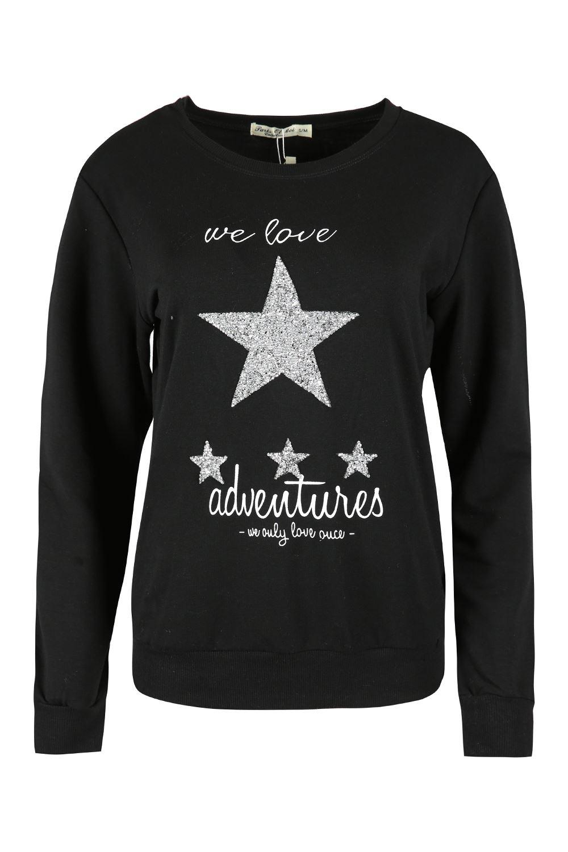 womens ladies we love adventures embellished star jumper top