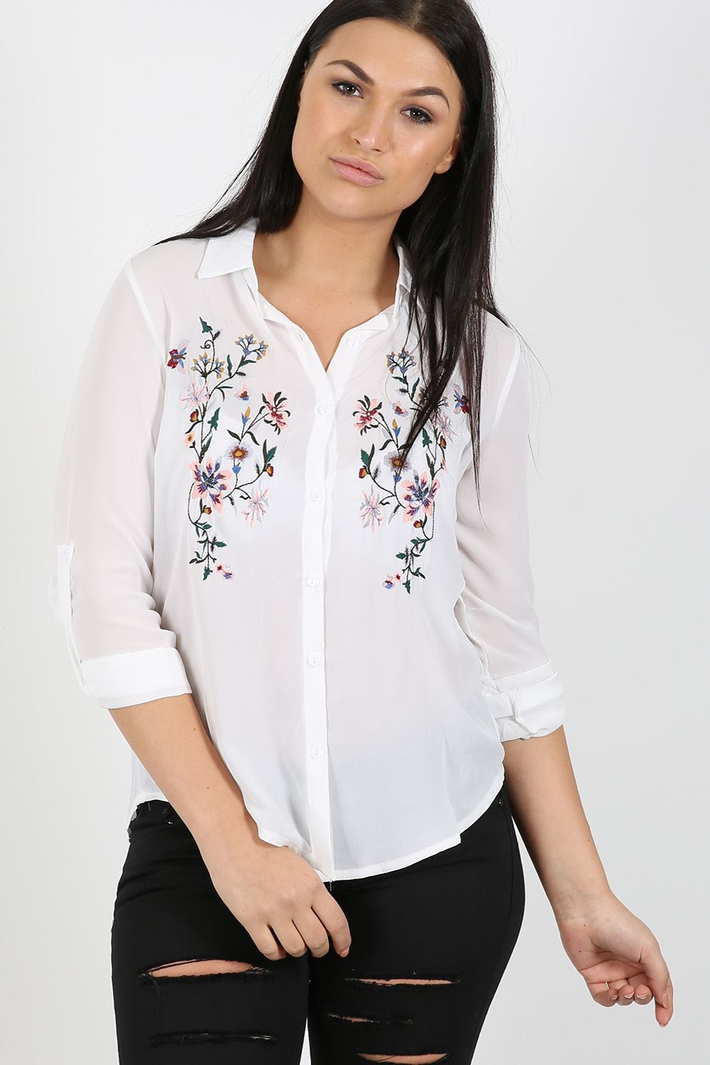 Womens Ladies Chiffon Embroidered Floral Shirt Blouse