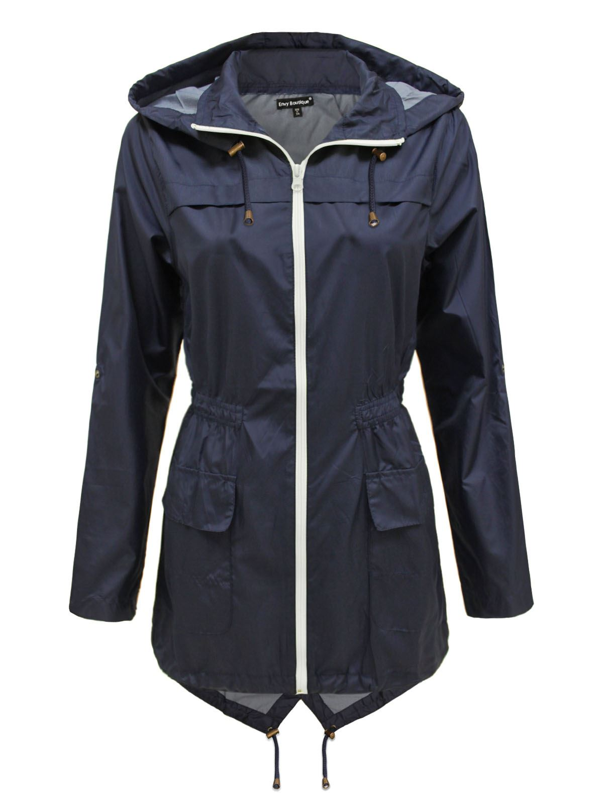 NEW LADIES WOMENS PLAIN PARKA MAC HOODED WATERPROOF RAINCOATS