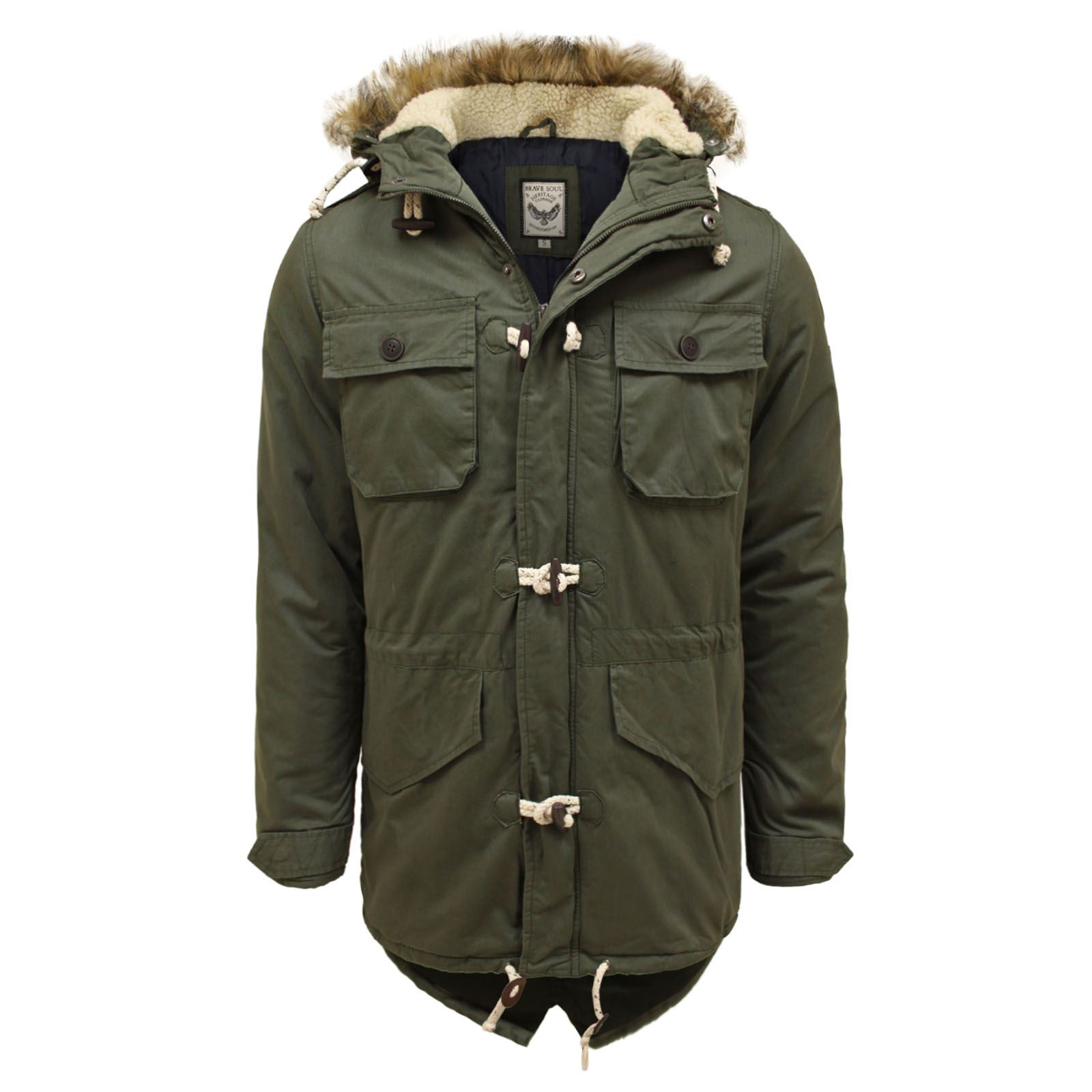 details about brave soul mens fur hooded military vintage retro toggle