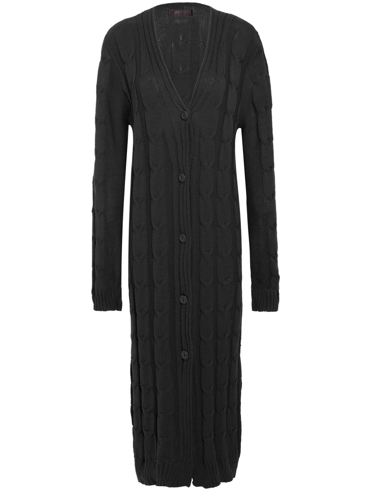 ladies womens maxi length chunky cable knitted grandad