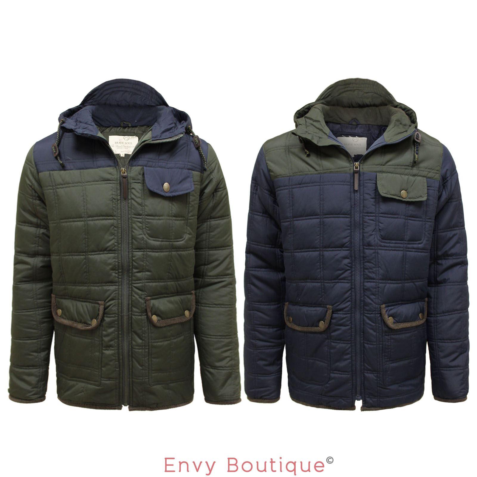 brave soul new mens designer hooded parka jacket quilted padded winter