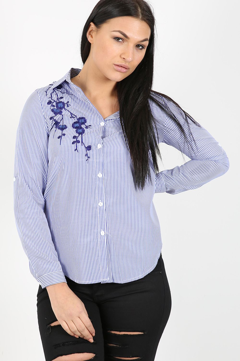 Ladies womens striped embroidered floral blouse shirt for Women s sunscreen shirts
