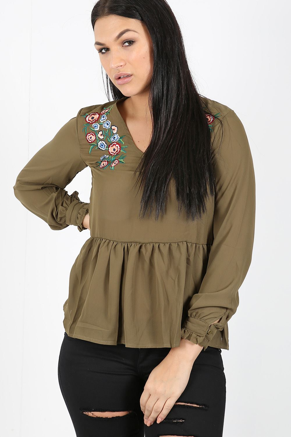 Womens ladies chiffon floral embroidered v neck gypsy top