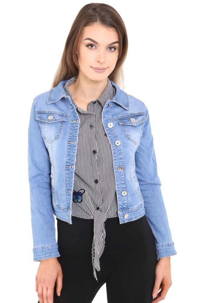 Ladies Cropped Jackets. Clothing. Women. Womens Coats & Jackets. Ladies Cropped Jackets. Showing 48 of results that match your query. Search Product Result. Product - Sweet Vibes Junior Womens Stretch Denim Cropped Jacket Vintage Wash Flock Print. Product Image. Price $ Product Title.