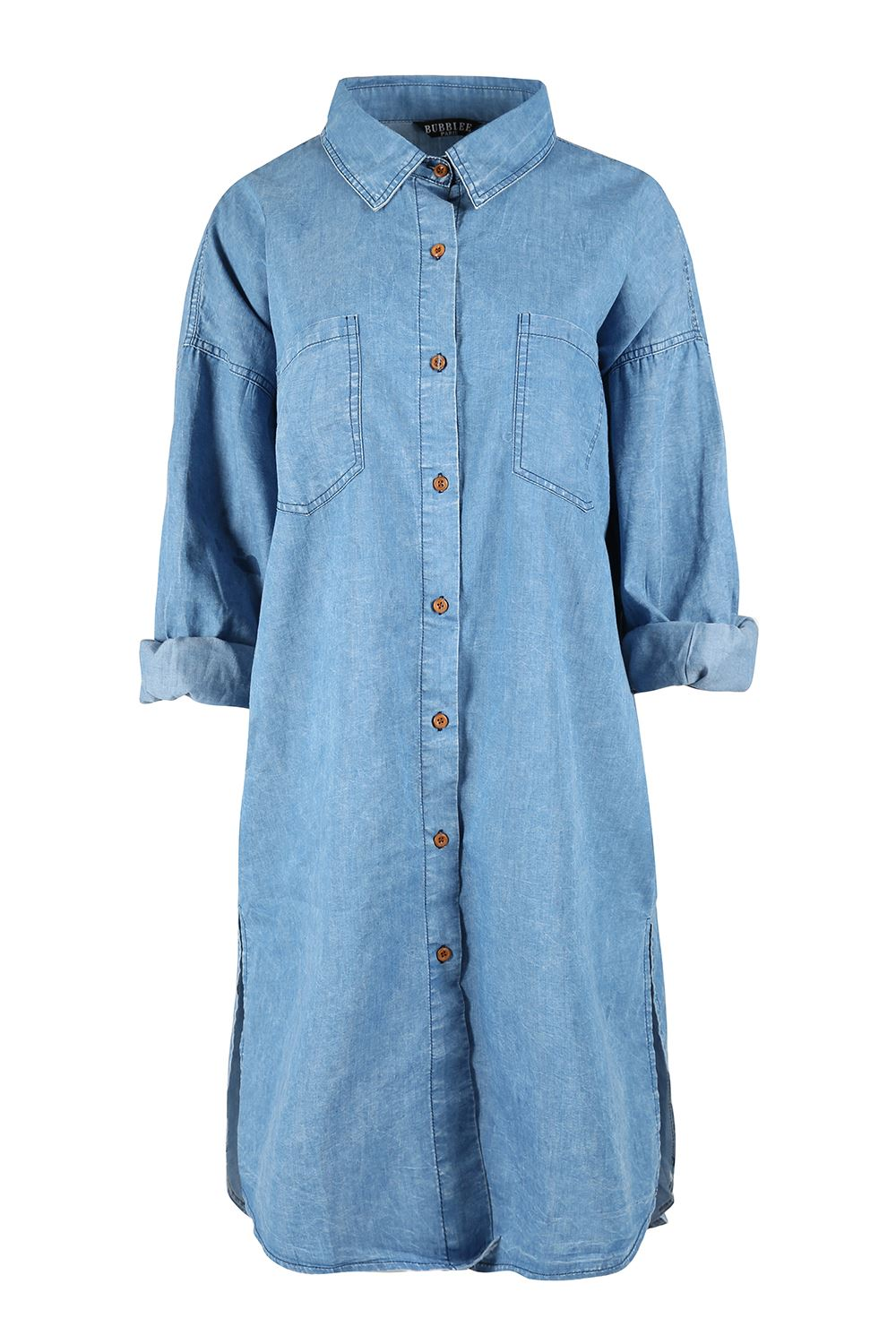 Ladies womens longline chambray denim oversized shirt for Chambray shirt women