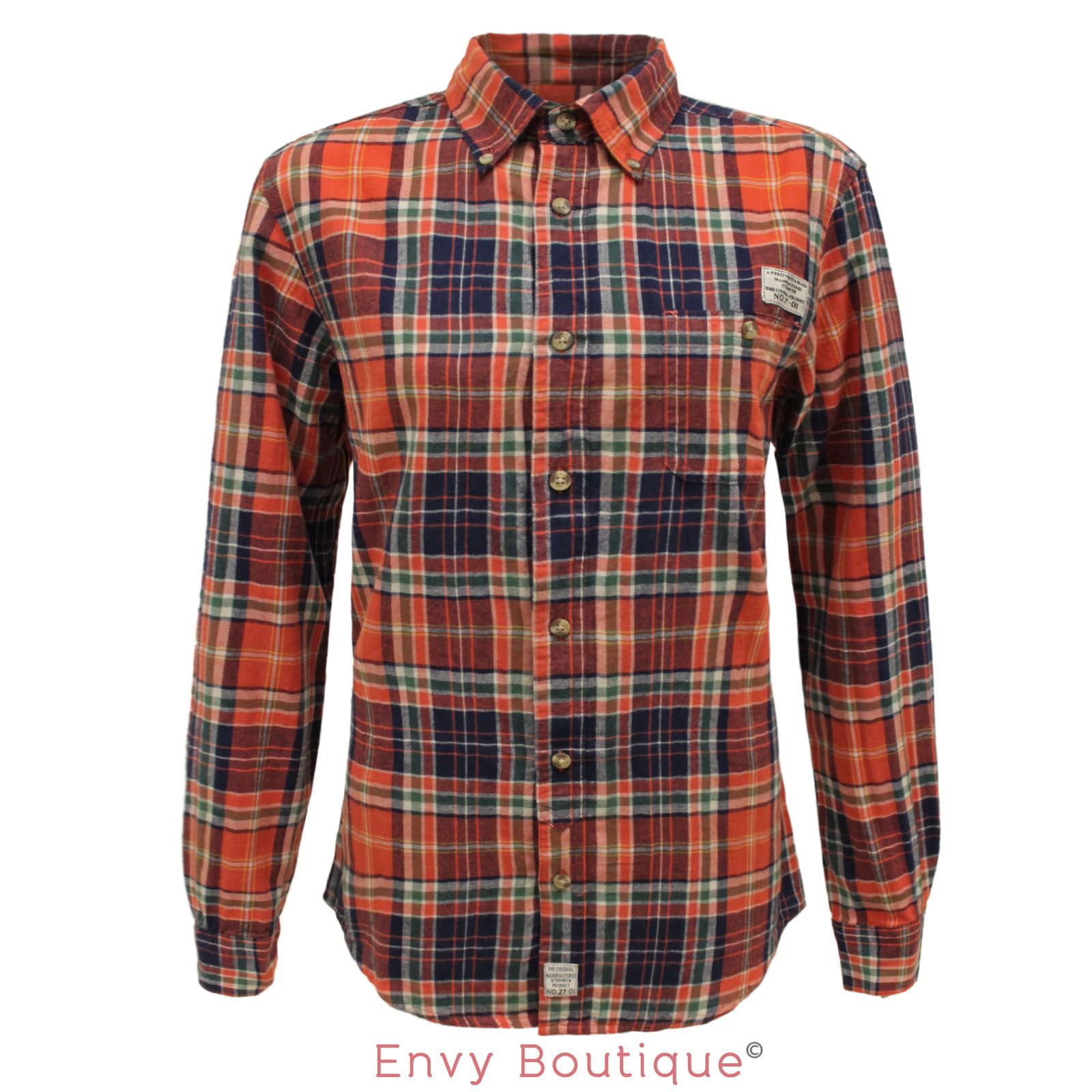 Mens designer fashion campus button down plaid check for Types of flannel shirts