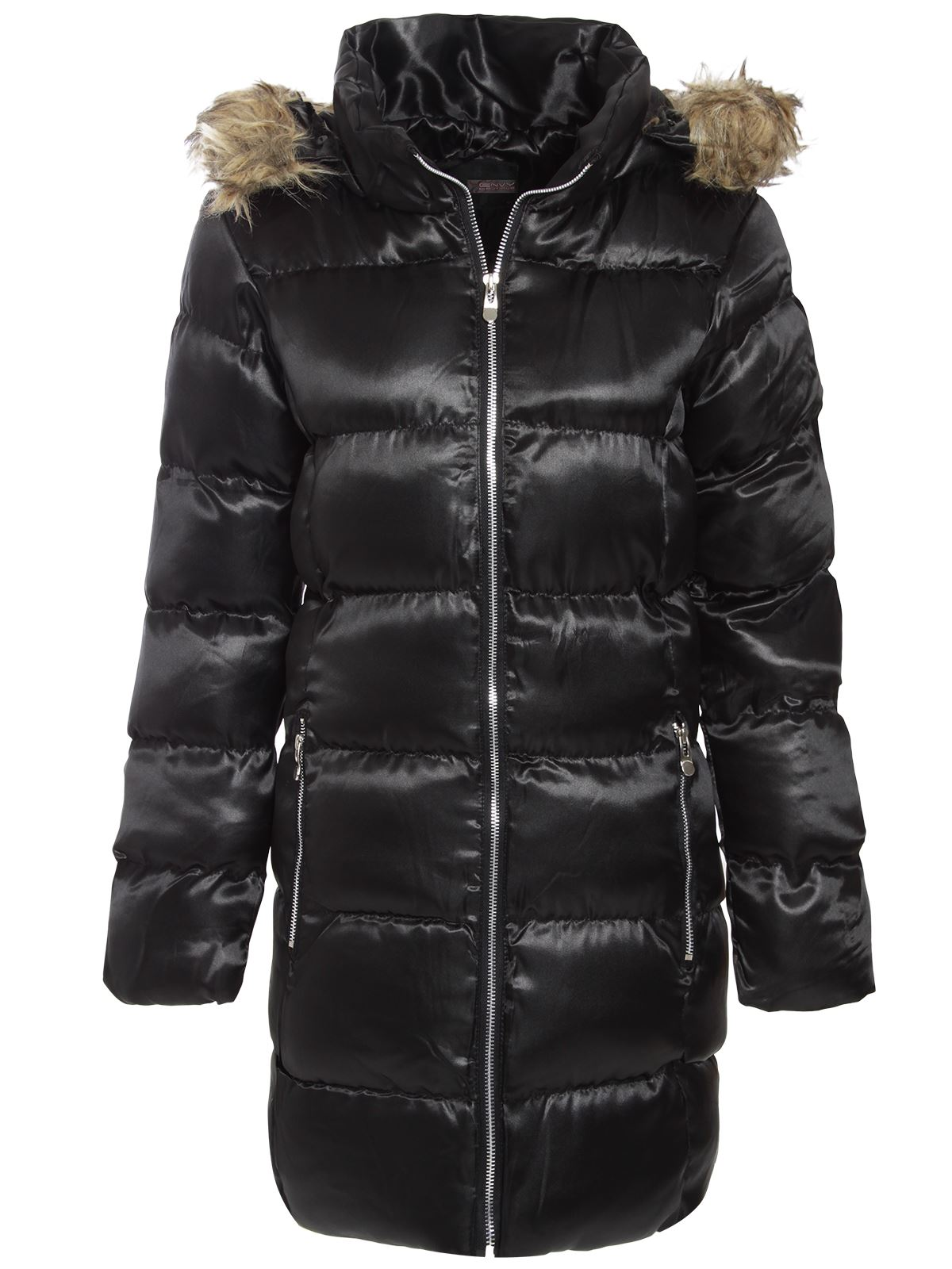 brave soul ladies womens puffer parka jacket fur hooded quilted padded
