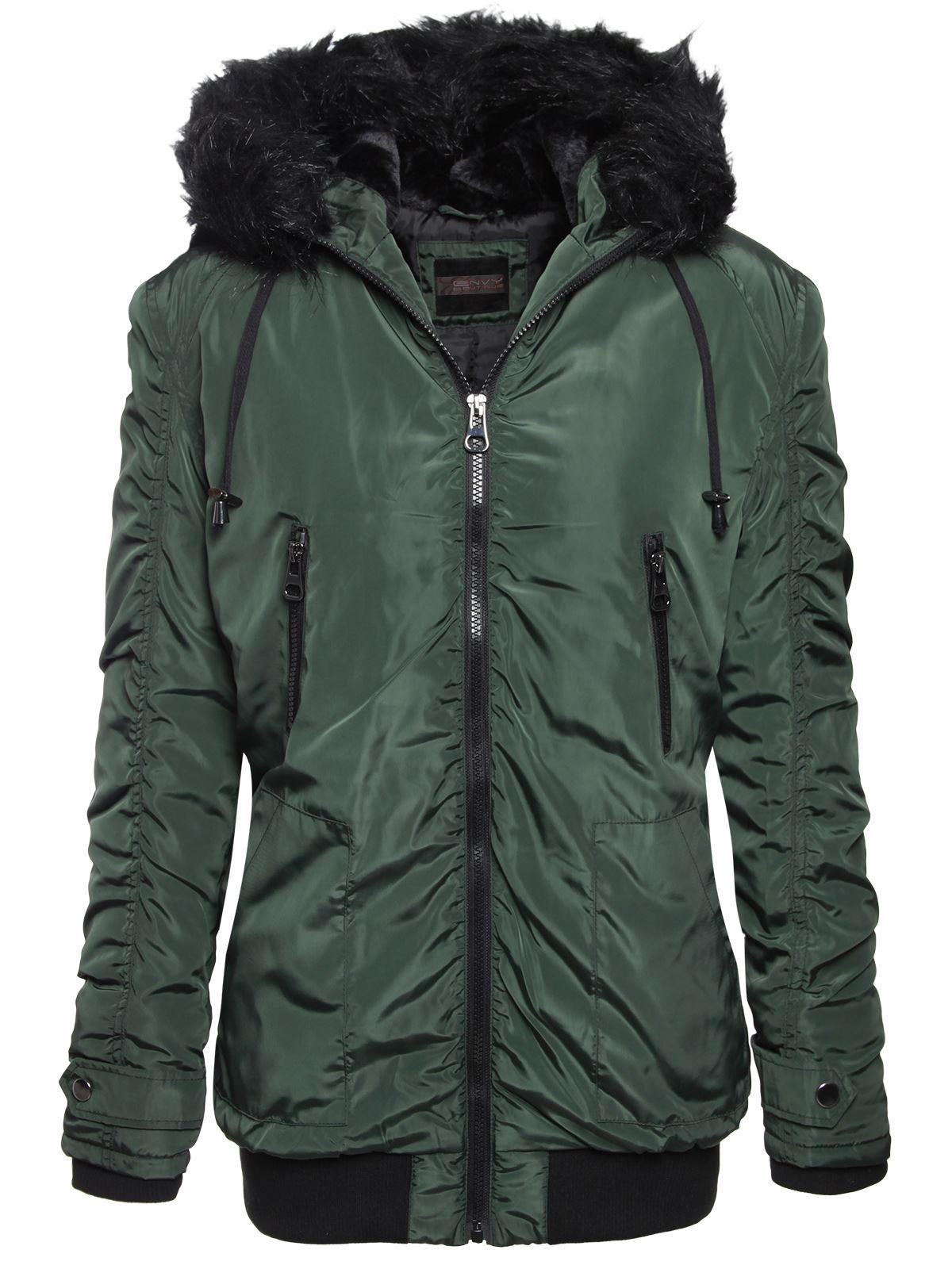 Brave Soul Ladies Womens Fur Hooded Bomber Parka Jacket Zip Up ...