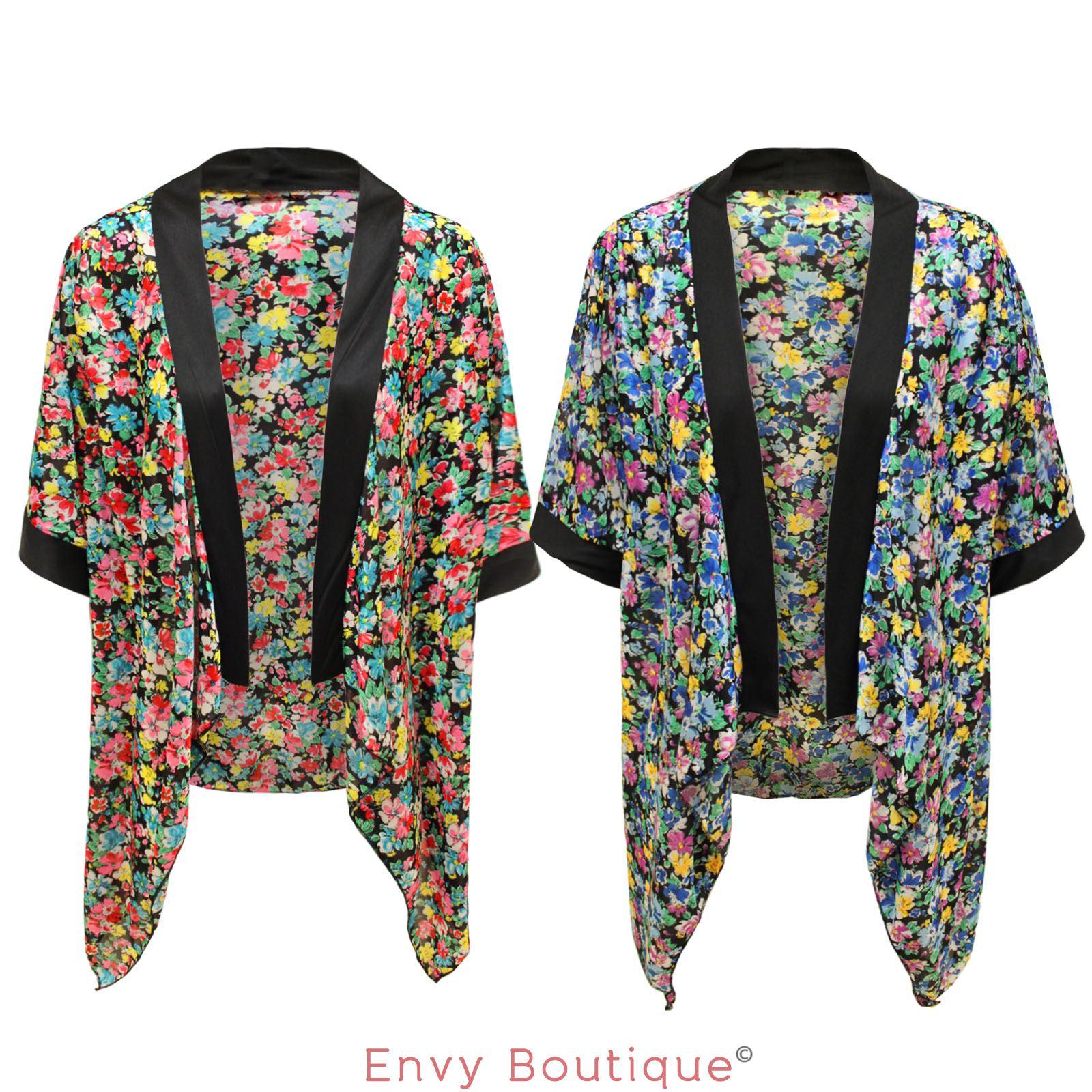 Damen vintage blumen druck top kimono umhang offene for Kimono jacke damen