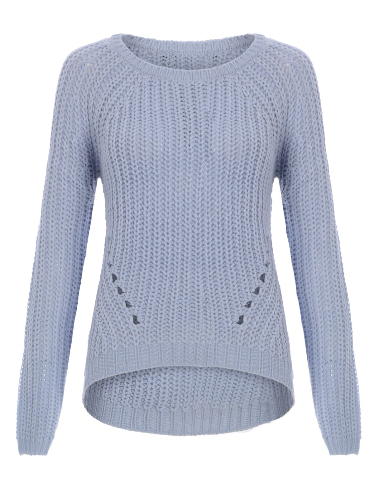 WOMENS LADIES RIBBED KNIT JUMPER RIB HOLE KNITTED CURVED HEM SWEATER PULLOVER...