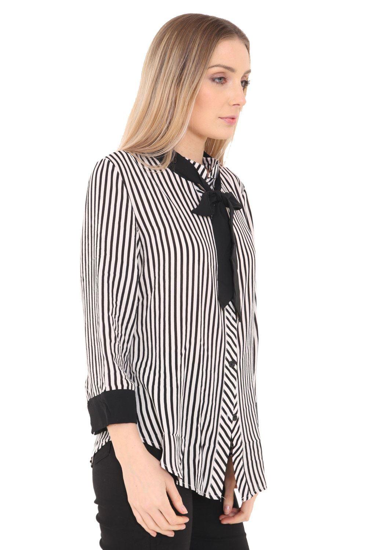 c44494818c6c26 White Black Tie Blouse
