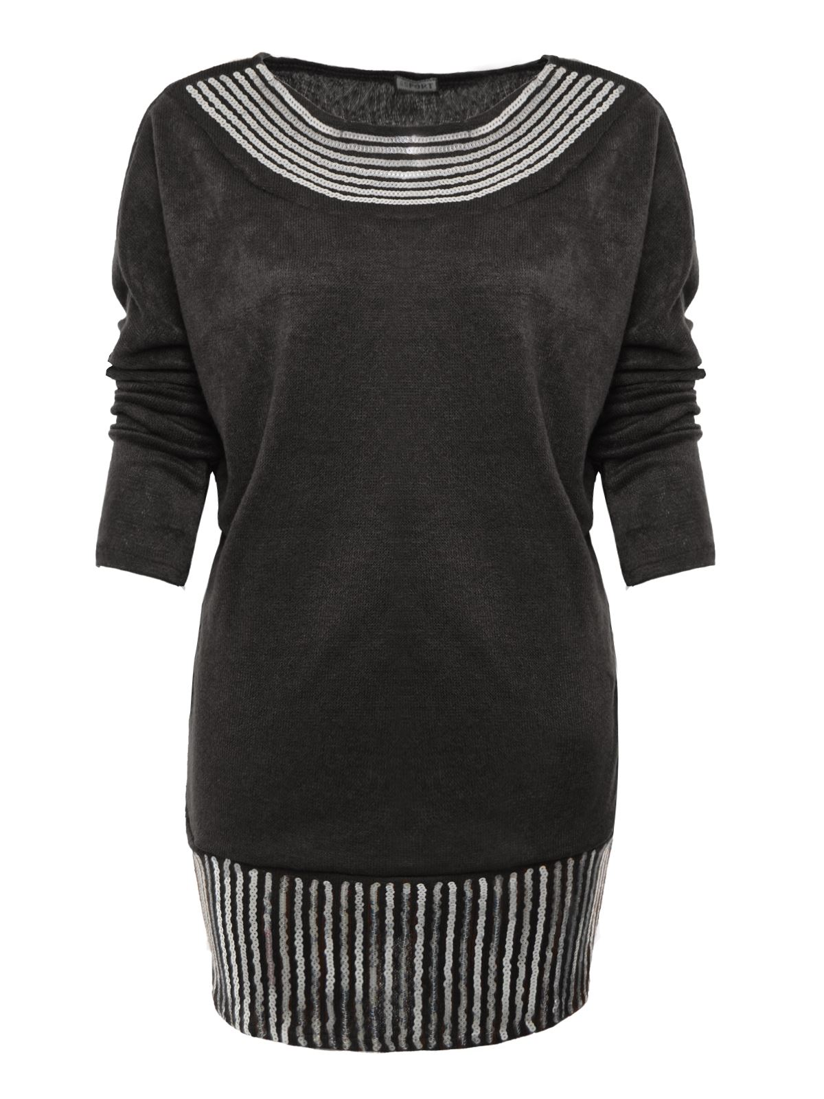 details about ladies womens knitted sequin batwing long sleeve jumper