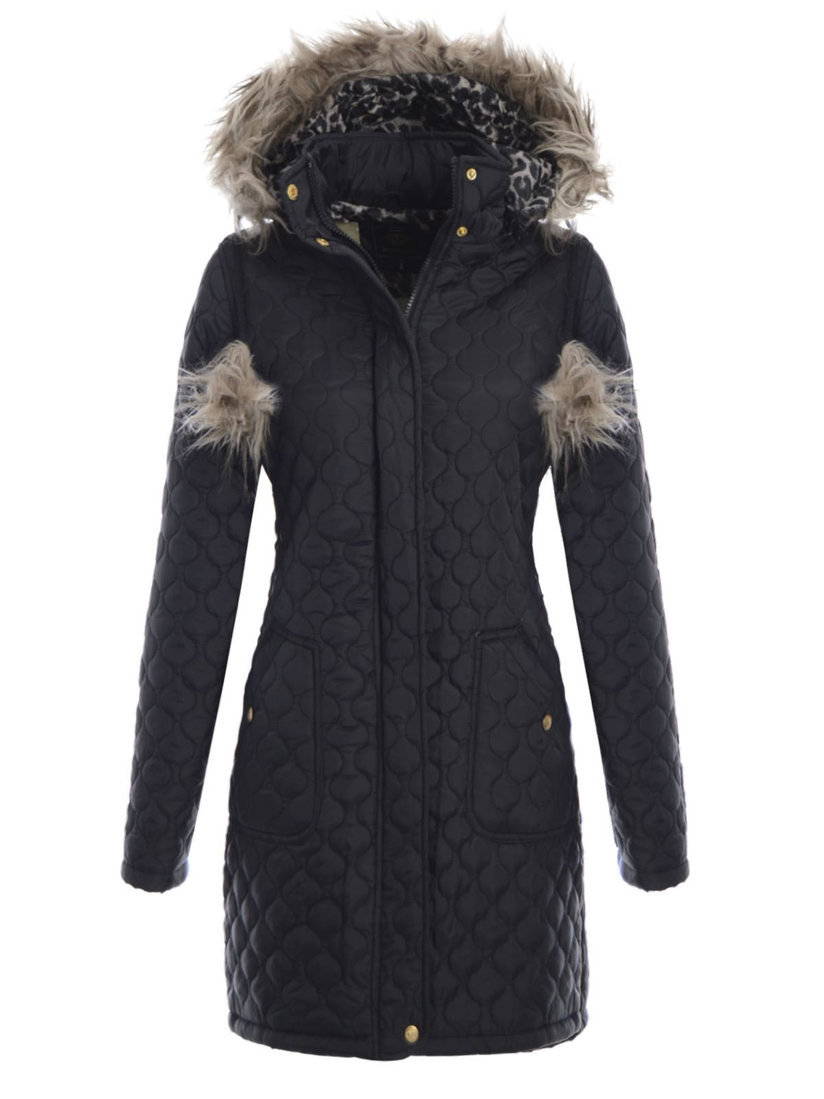 brave soul ladies quilted fur hooded pop pom parka womens