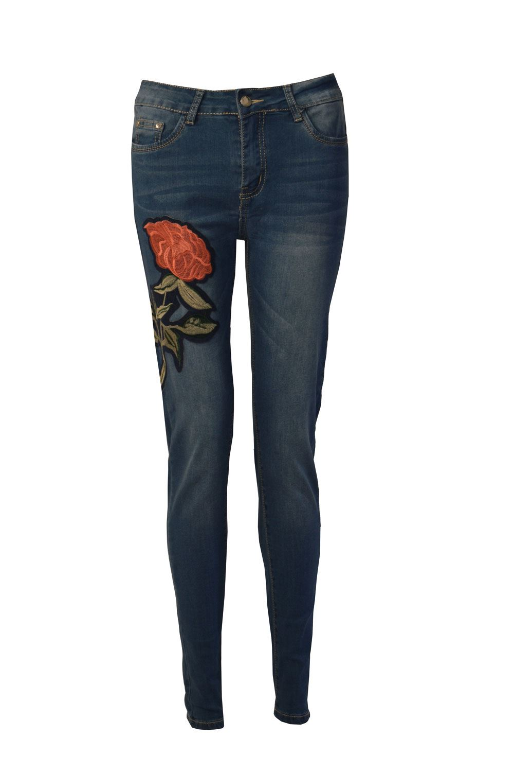 Womens Ladies Embroidered Denim High Waisted Skinny Fit Stretch Jeans | EBay