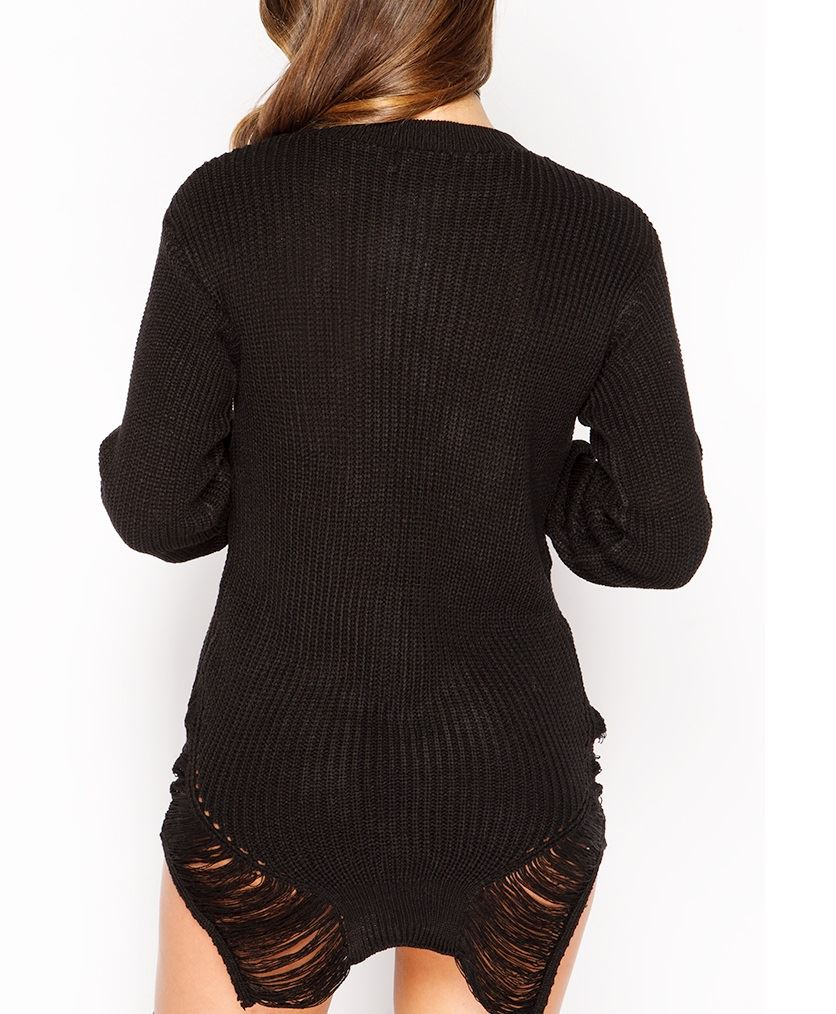 ladies womens distressed knitted jumper chunky oversized ripped dress