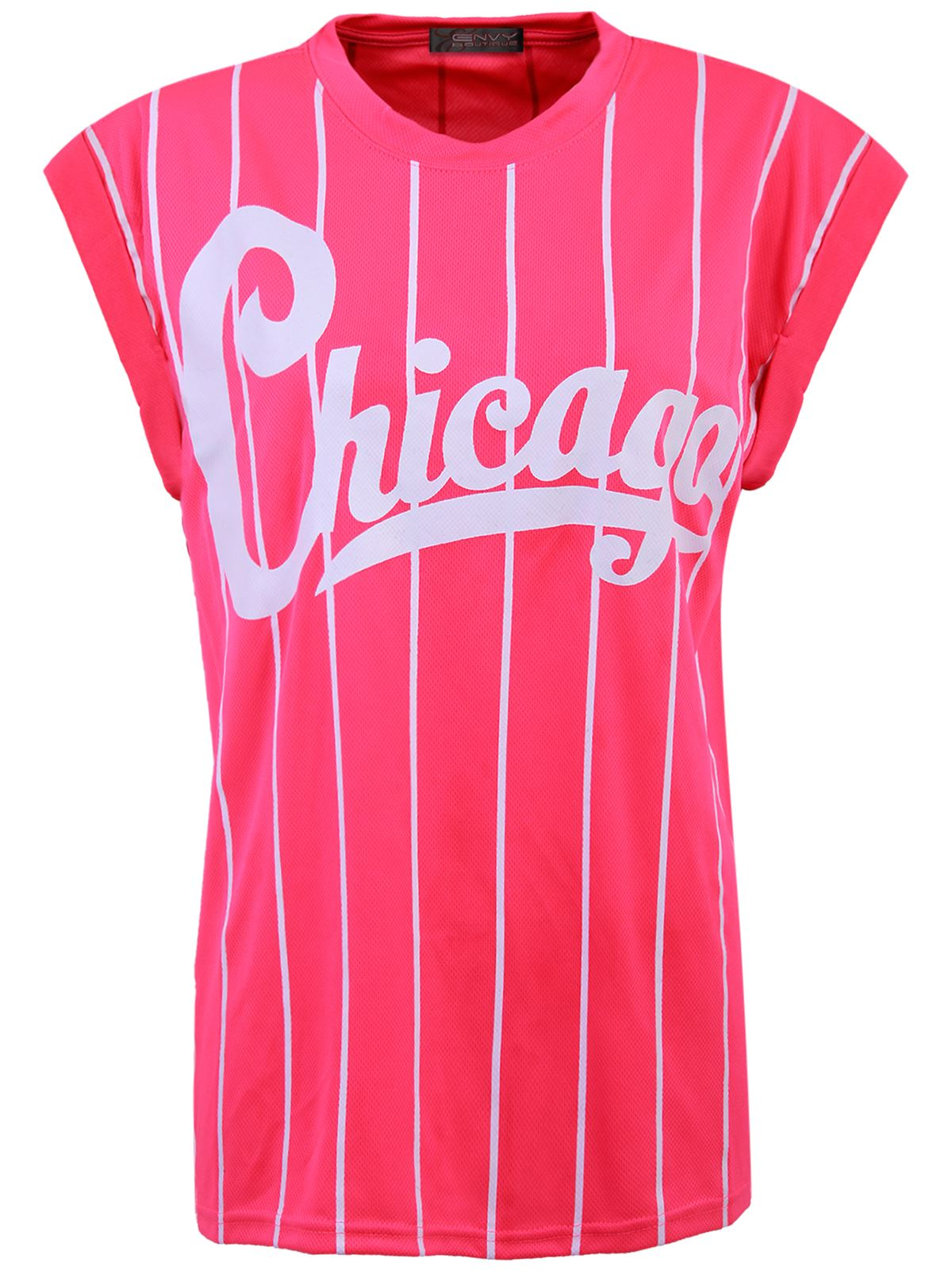 Womens Ladies American Chicago Baseball Casual Top Stripe