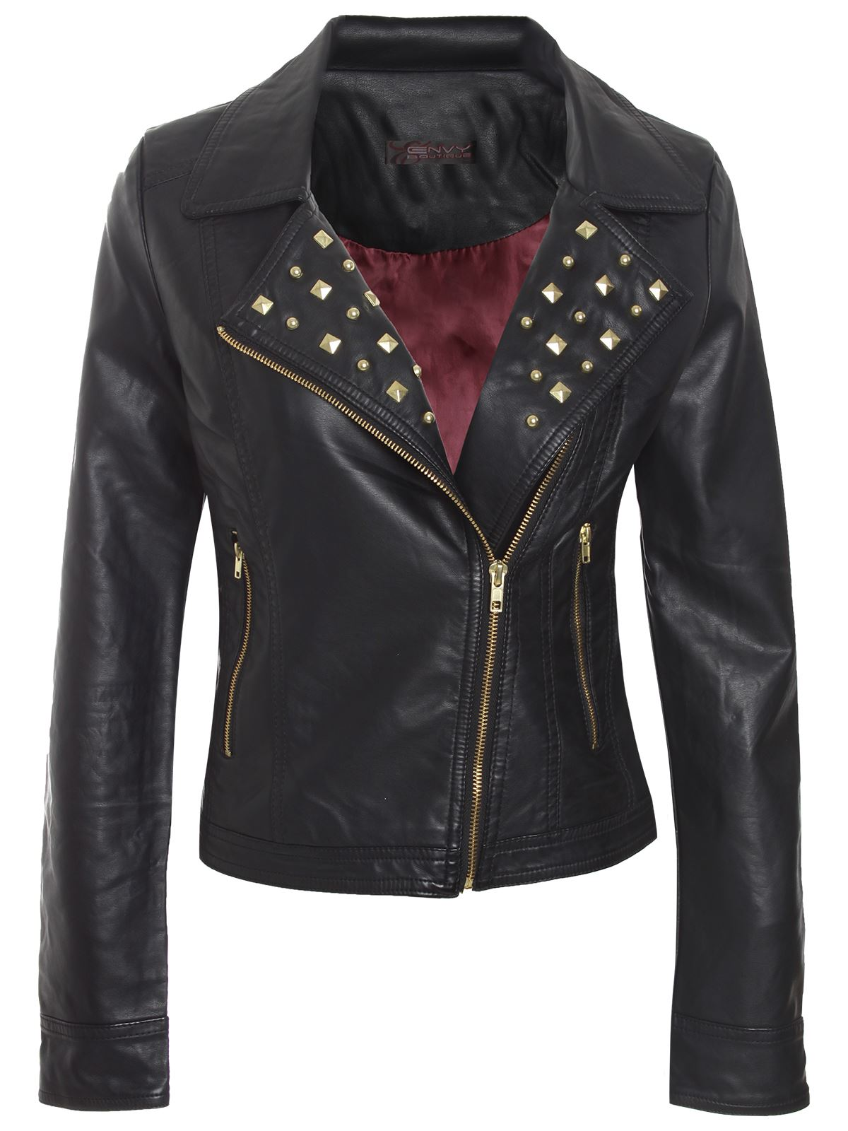 womens ladies pu pvc jacket faux leather zipped studded biker ebay
