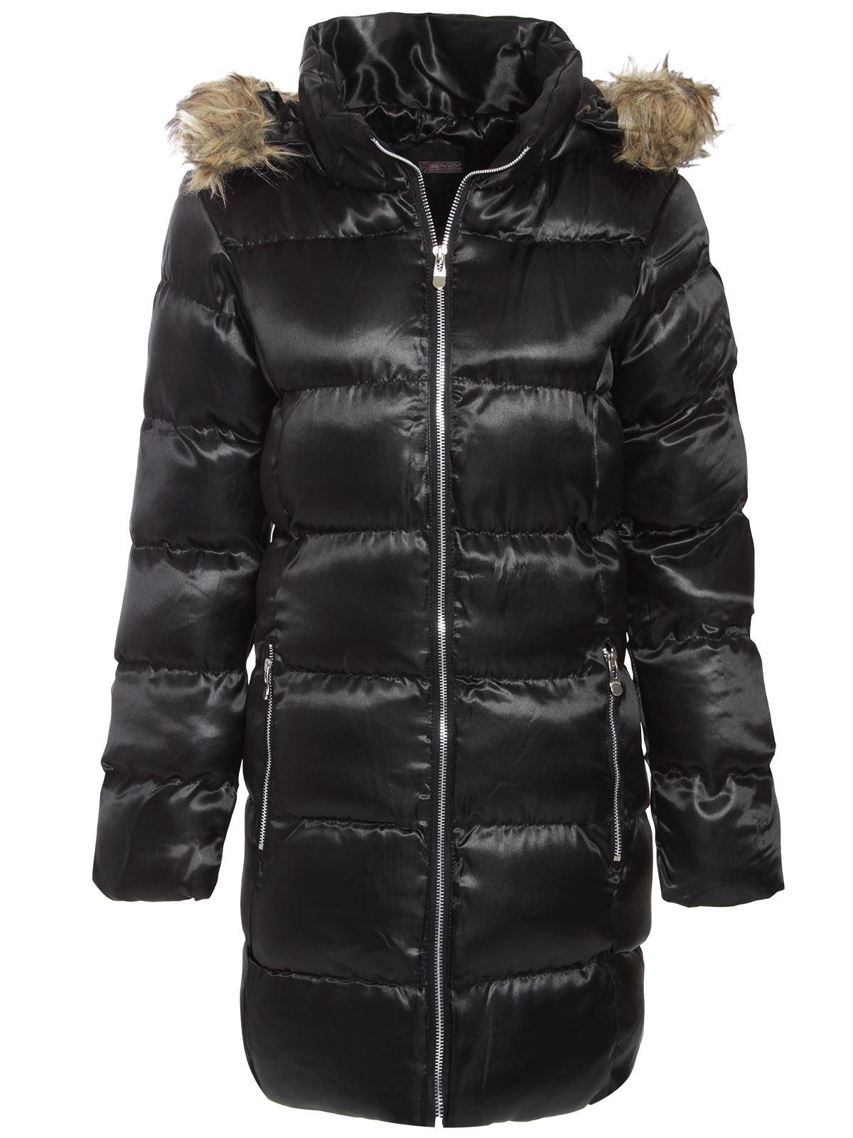 brave soul ladies womens puffer parka jacket fur hooded. Black Bedroom Furniture Sets. Home Design Ideas