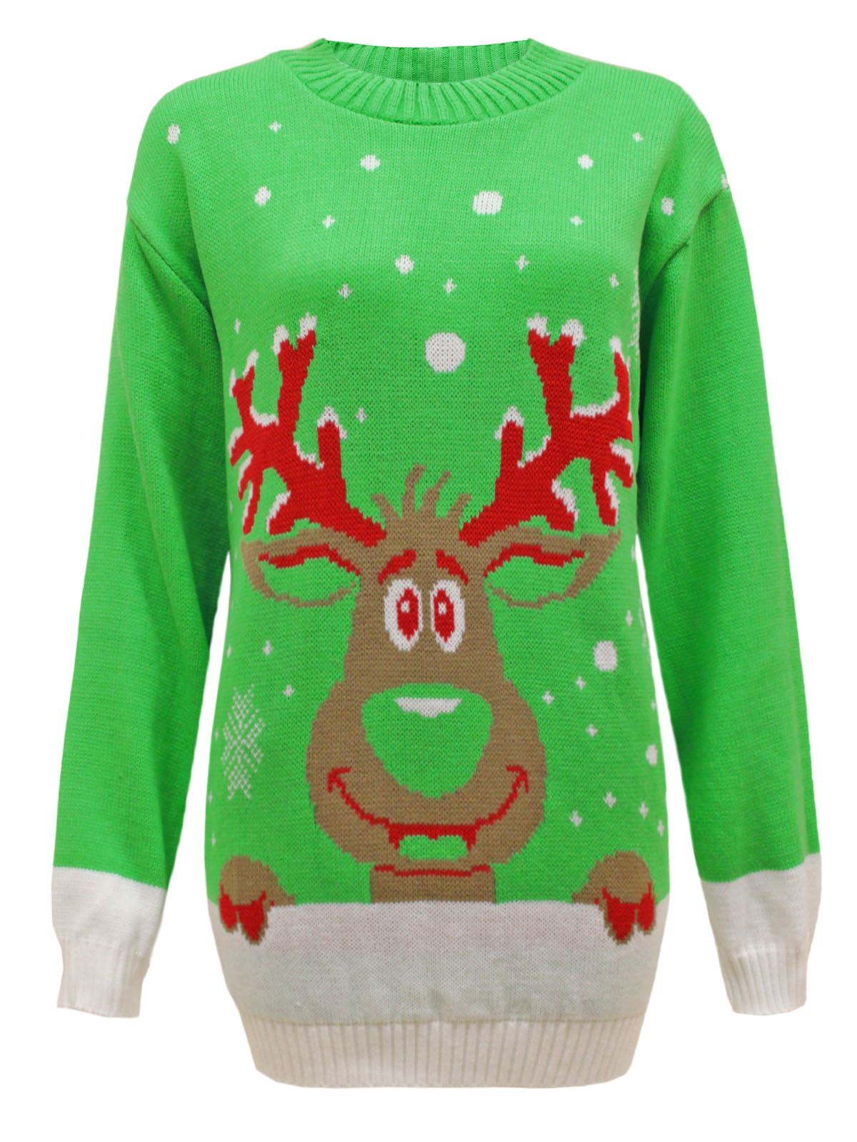 knit xmas christmas jumper santa reindeer sweater plus sizes ebay