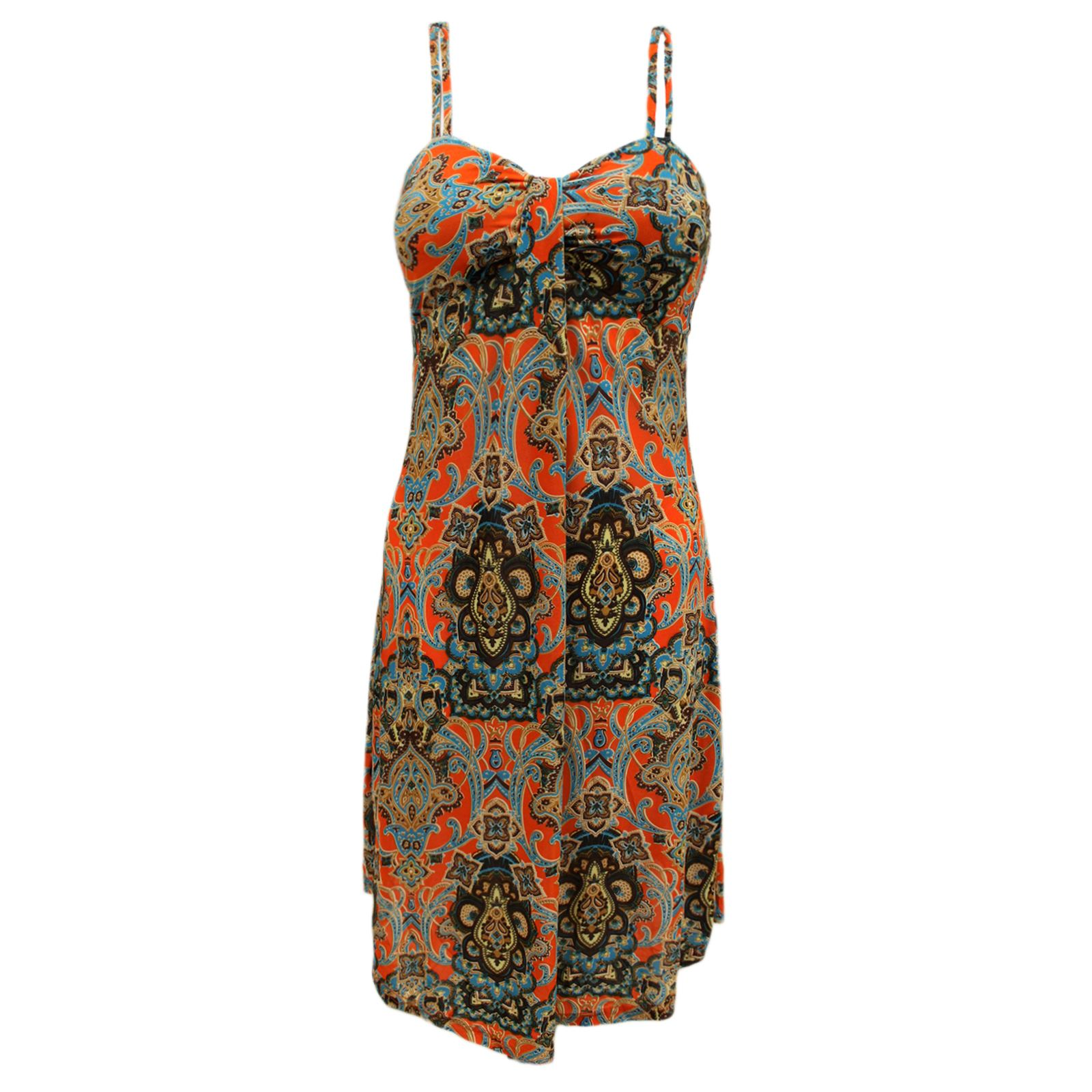 NEW WOMENS LADIES STRAPPY PAISLEY PRINT SUMMER BEACH HOLIDAY WEAR ...