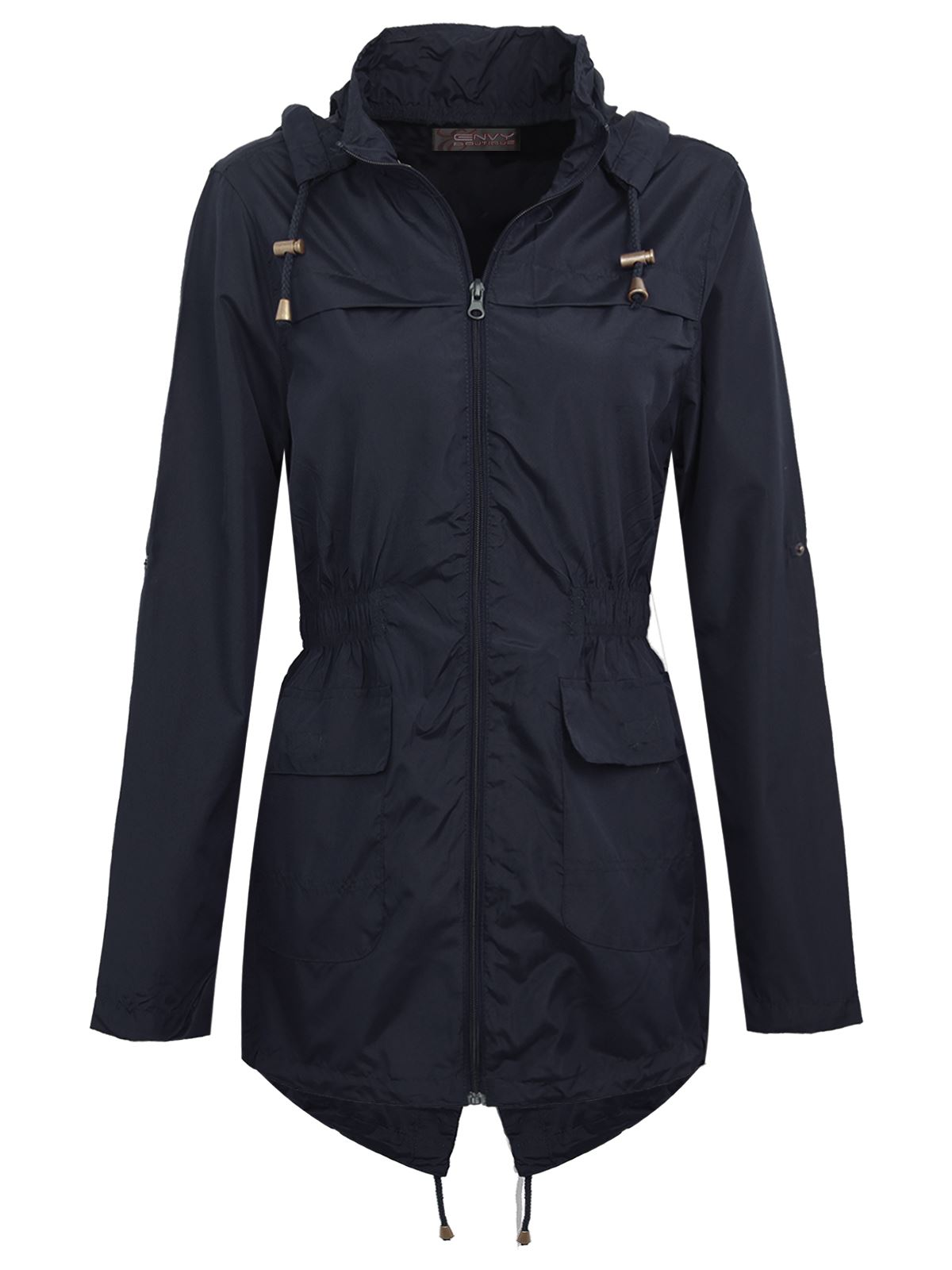 NEW LADIES WOMENS PLAIN PARKA MAC HOODED WATERPROOF RAINCOATS ...