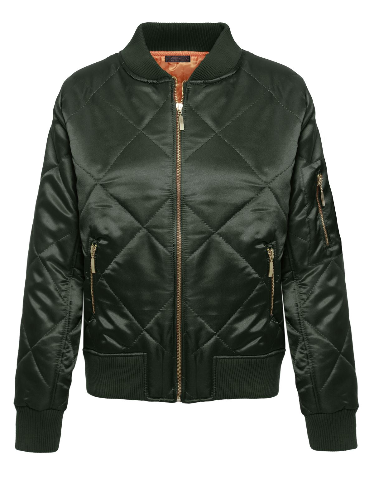 Ladies Womens Satin Quilted Ma1 Jacket Retro Army Flight