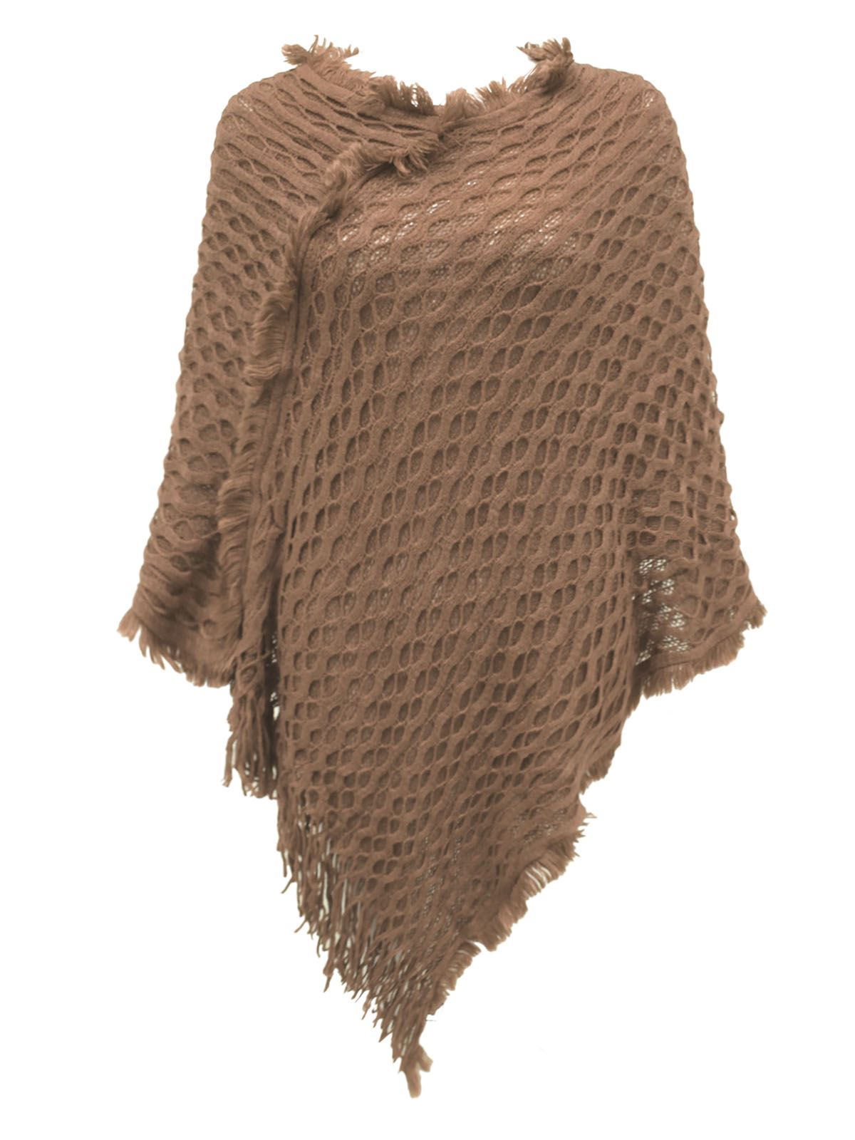 WOMENS LADIES NEW KNITTED WARM PONCHO CAPE WRAP SHAWL ...