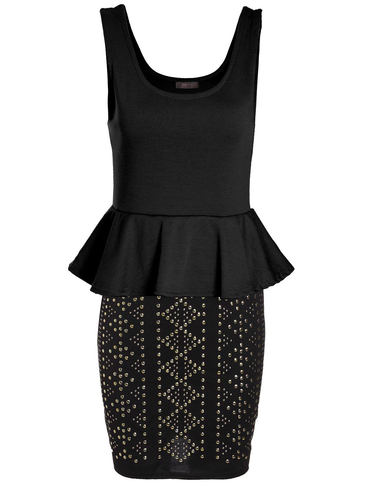 ladies womens peplum sleeveless top bodycon skirt studded