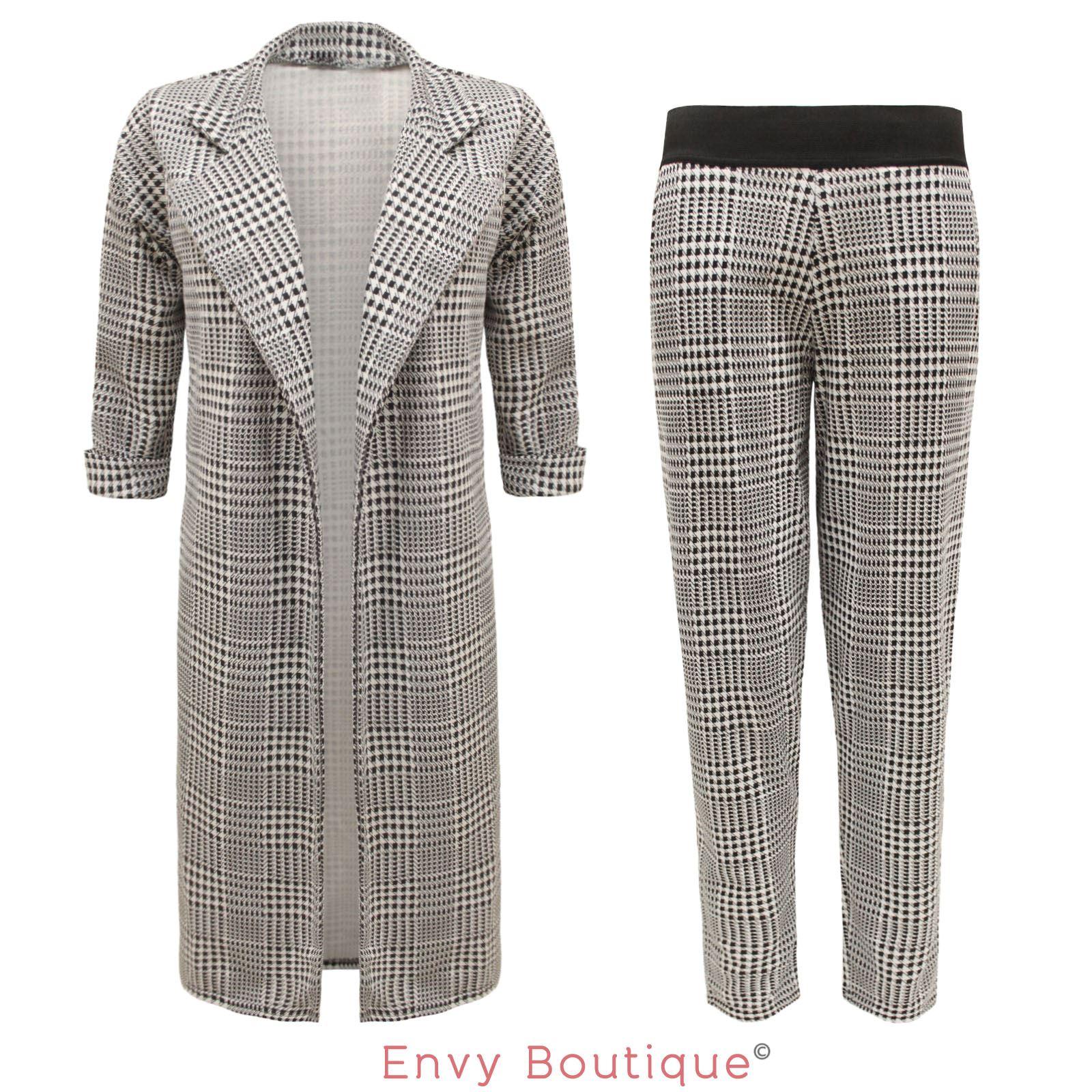 womens ladies celeb checked tartan duster coat jacket blazer trousers