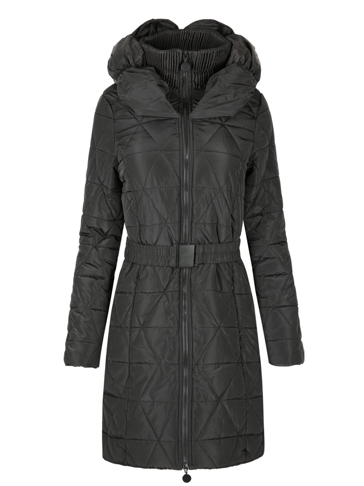 new womens ladies quilted puffer padded belted long warm