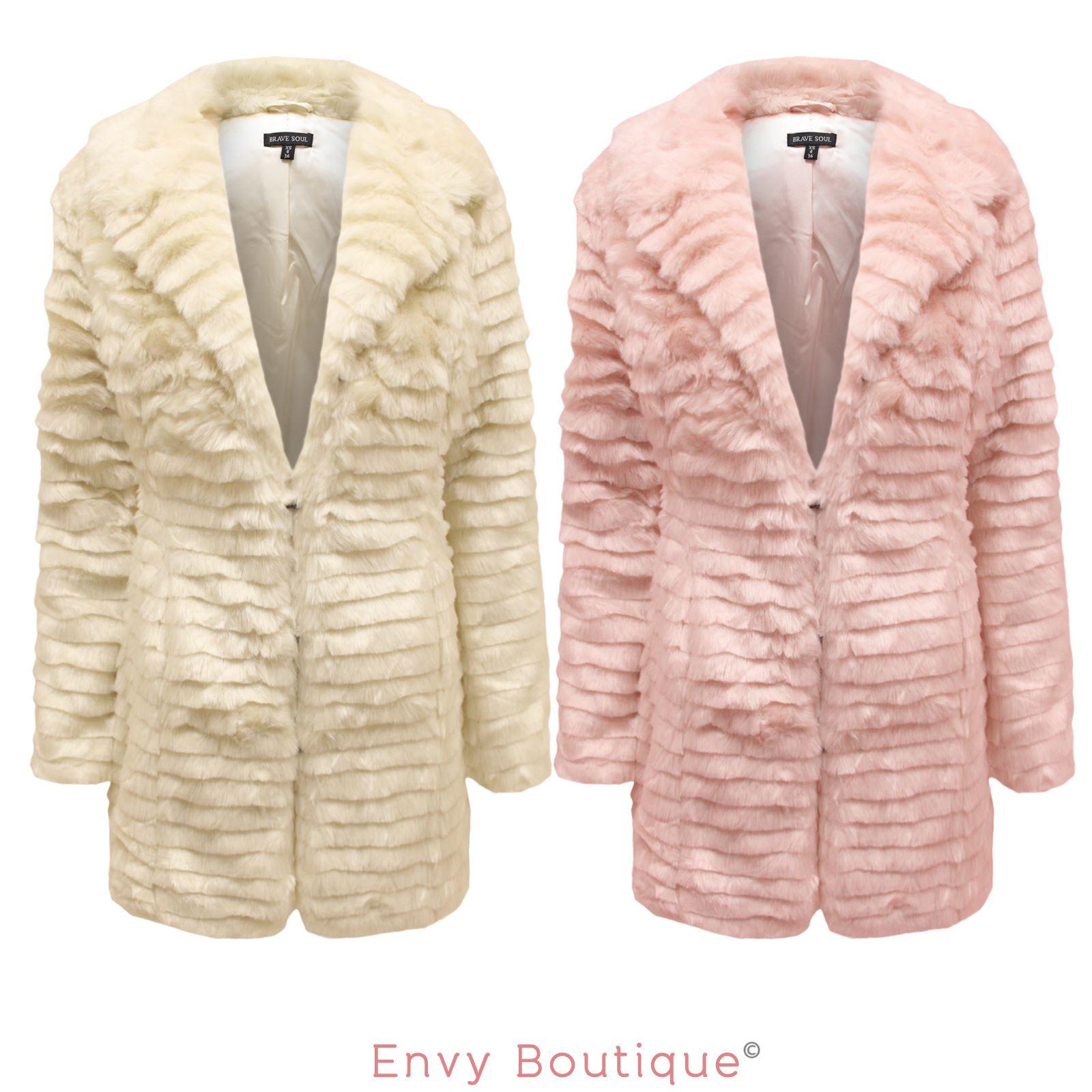 womens ladies new brave soul fashion winter faux fur outwear jacket