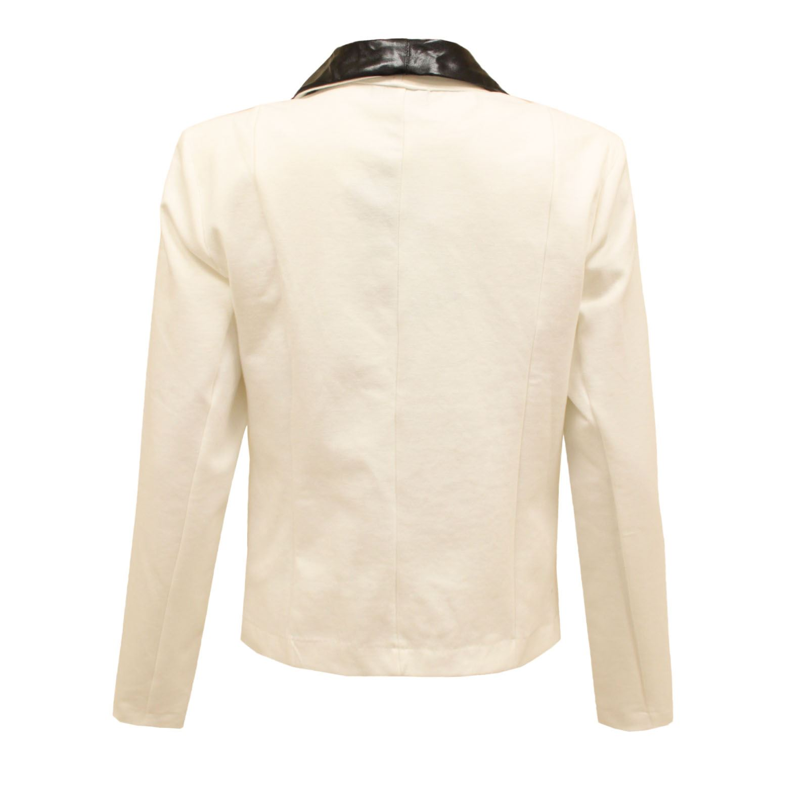 WOMENS LADIES METALLIC SHINY JACKET WET LOOK PVC COLLAR GOLD BUTTONS BLAZER TOP