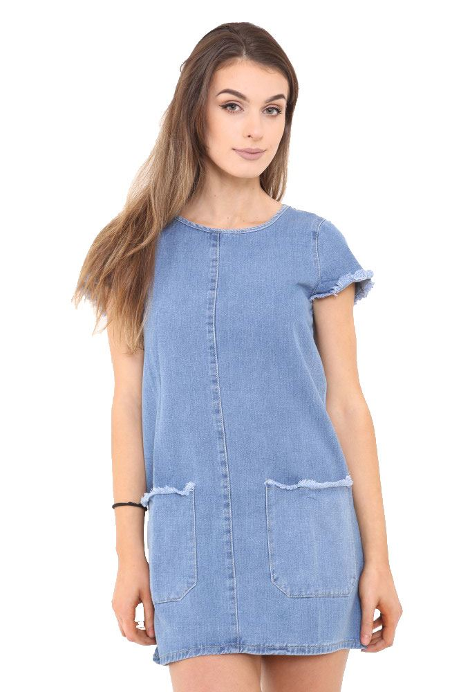 Ladies womens blue vintage jean denim shirt dress casual for Blue denim shirt for womens