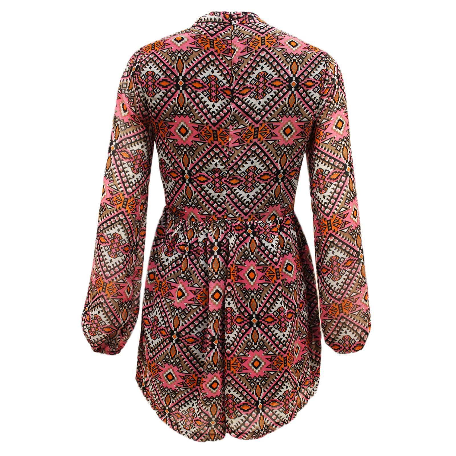Womens Ladies Chiffon Tribal Print Long Sleeve Short Playsuit Jumpsuit Dress Top