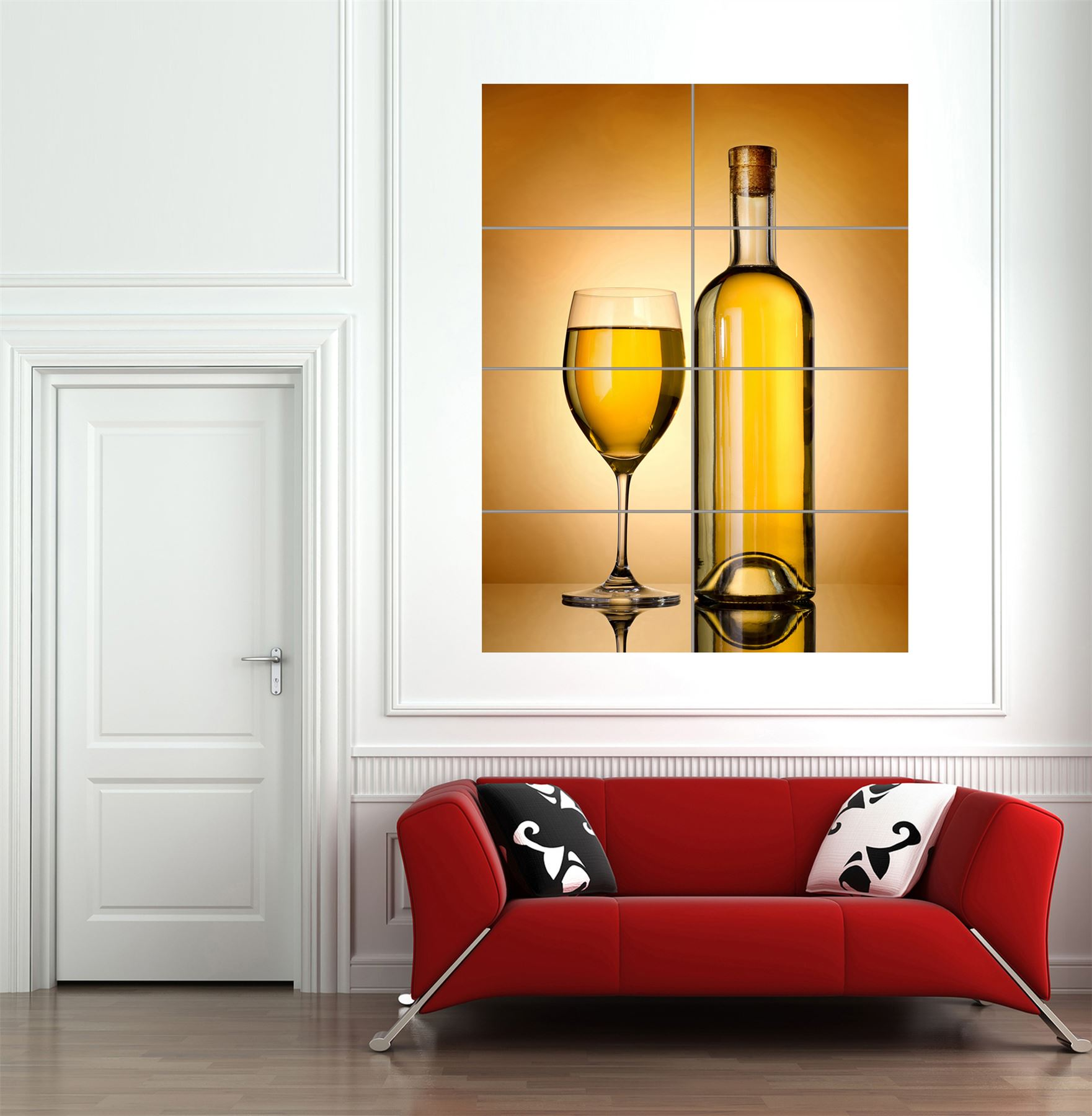 WINE-BOTTLE-GLASS-YELLOW-GIANT-WALL-ART-PRINT-HOME-DECOR-POSTER-MP1543