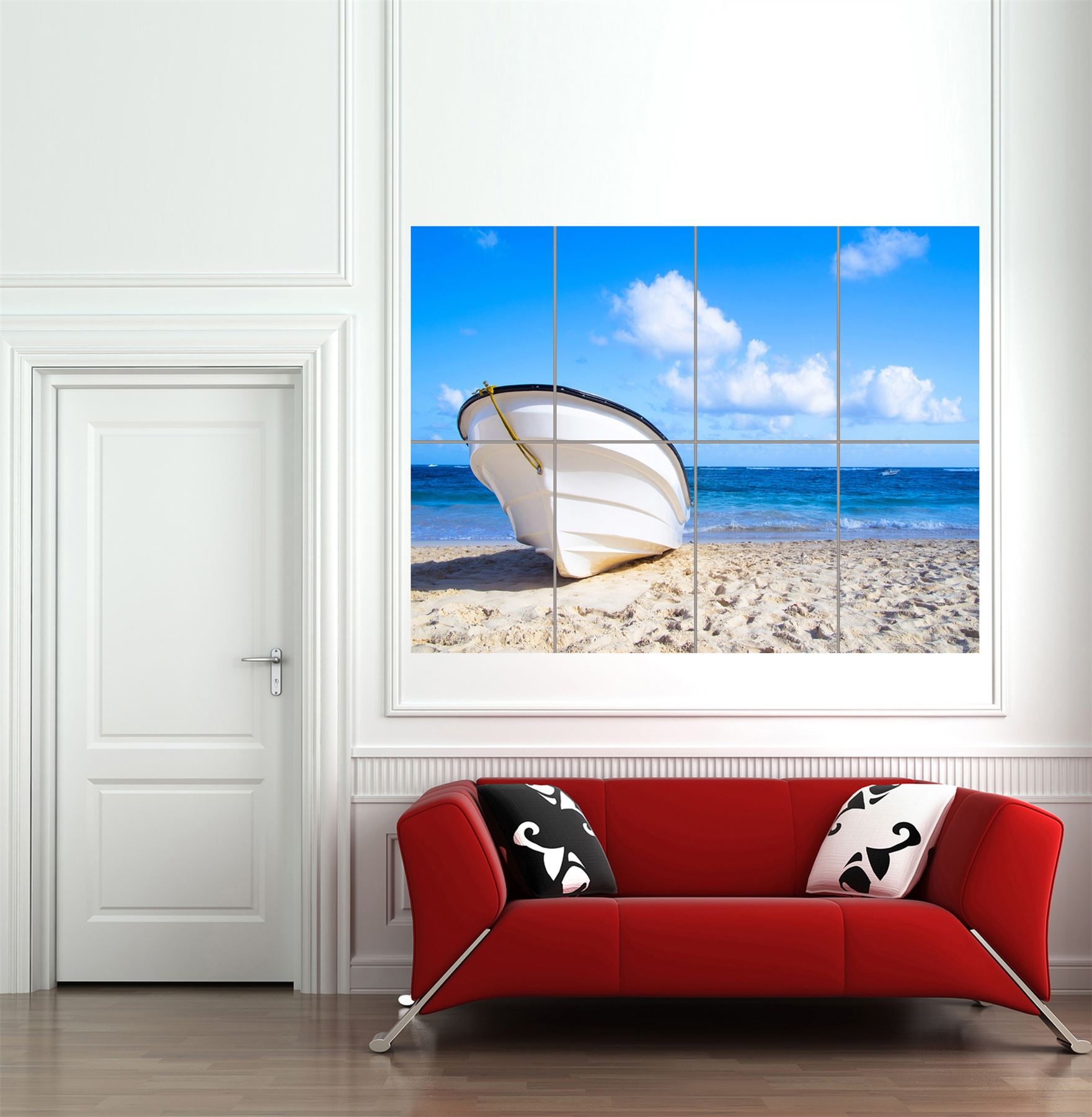 Tropical beach shore boat sunny giant wall art print home for Shore home decor