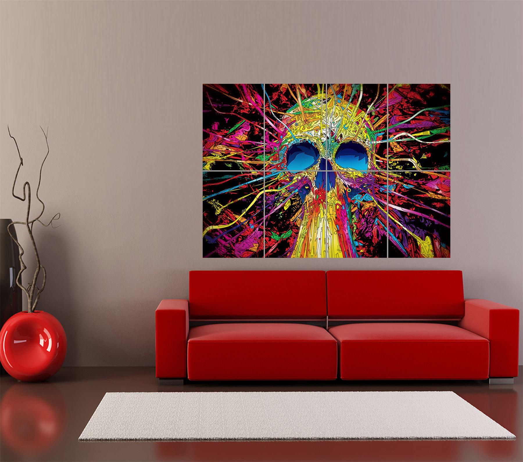 psychedelic trippy skull art giant art print home decor