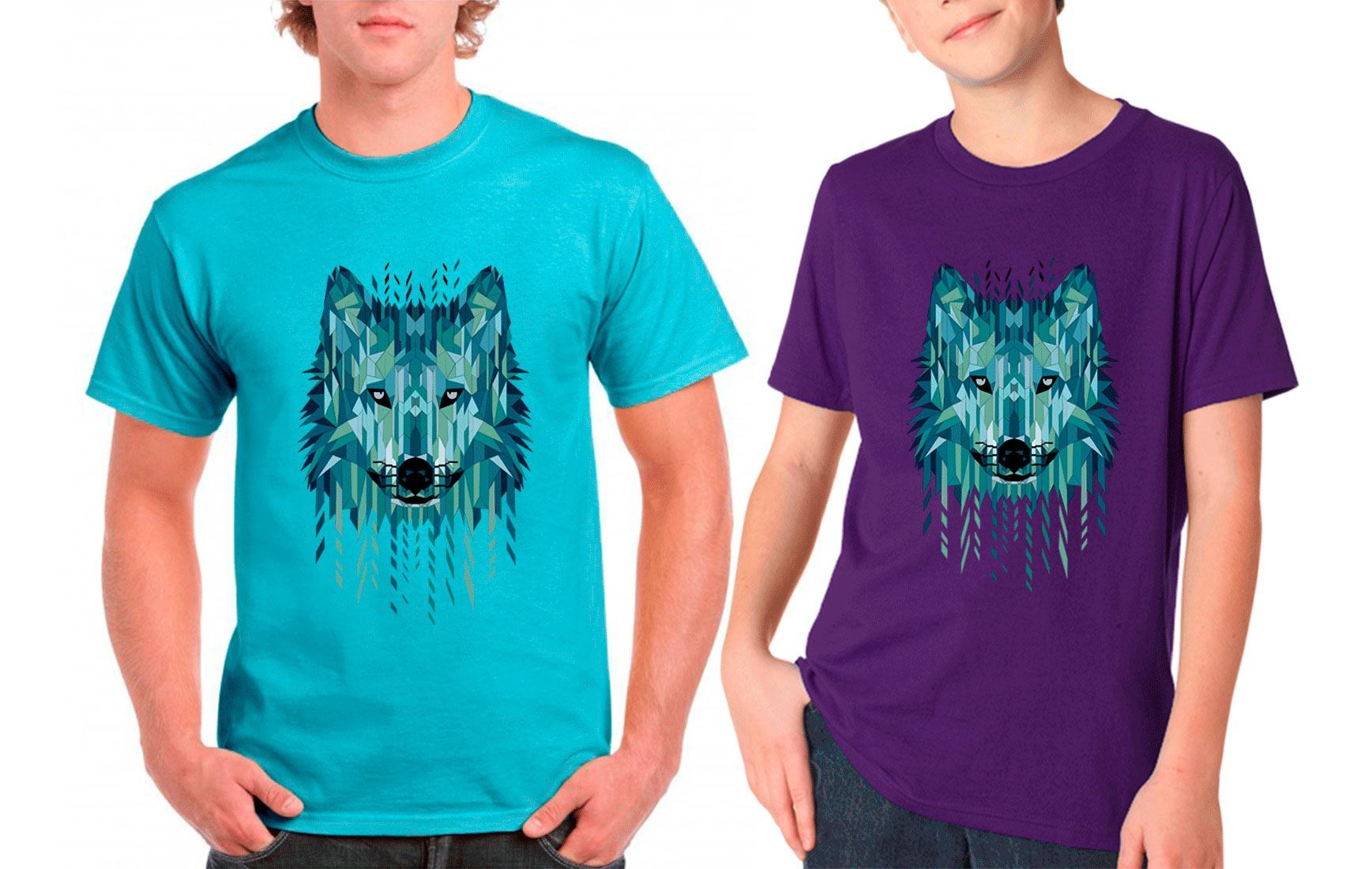 Mens geometric wolf printed t shirt gym wear boys short for Gym printed t shirts
